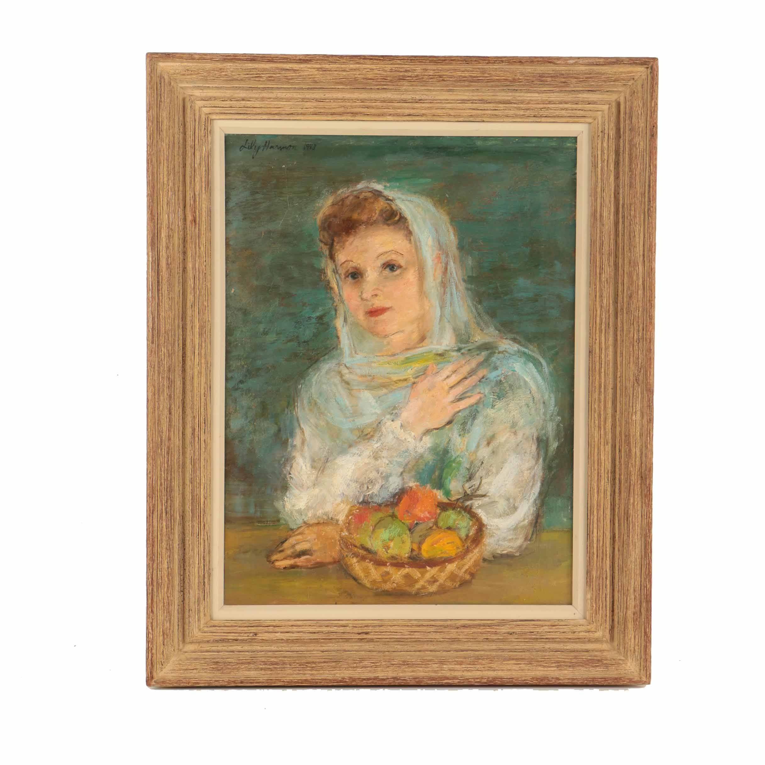 Lily Harmon Oil on Canvas Portrait of a  Woman with Fruit