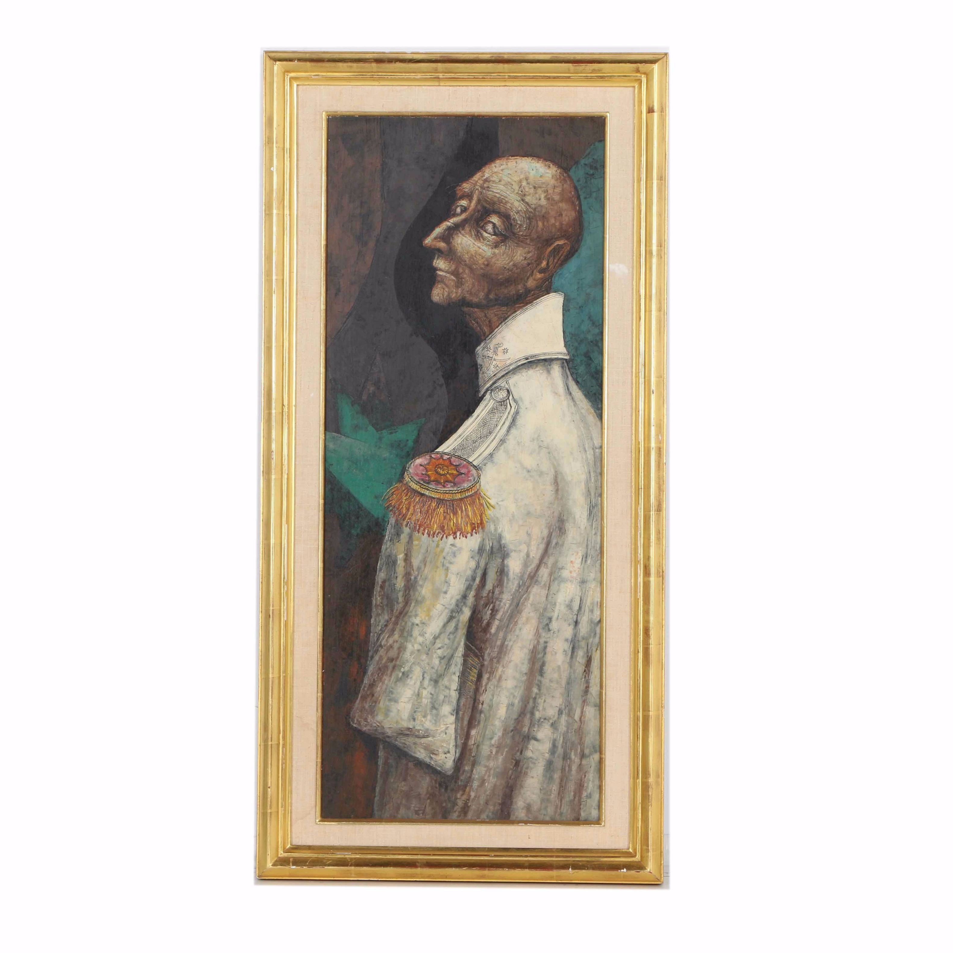 Oil Painting on Wood Panel of a Man with Epaulets