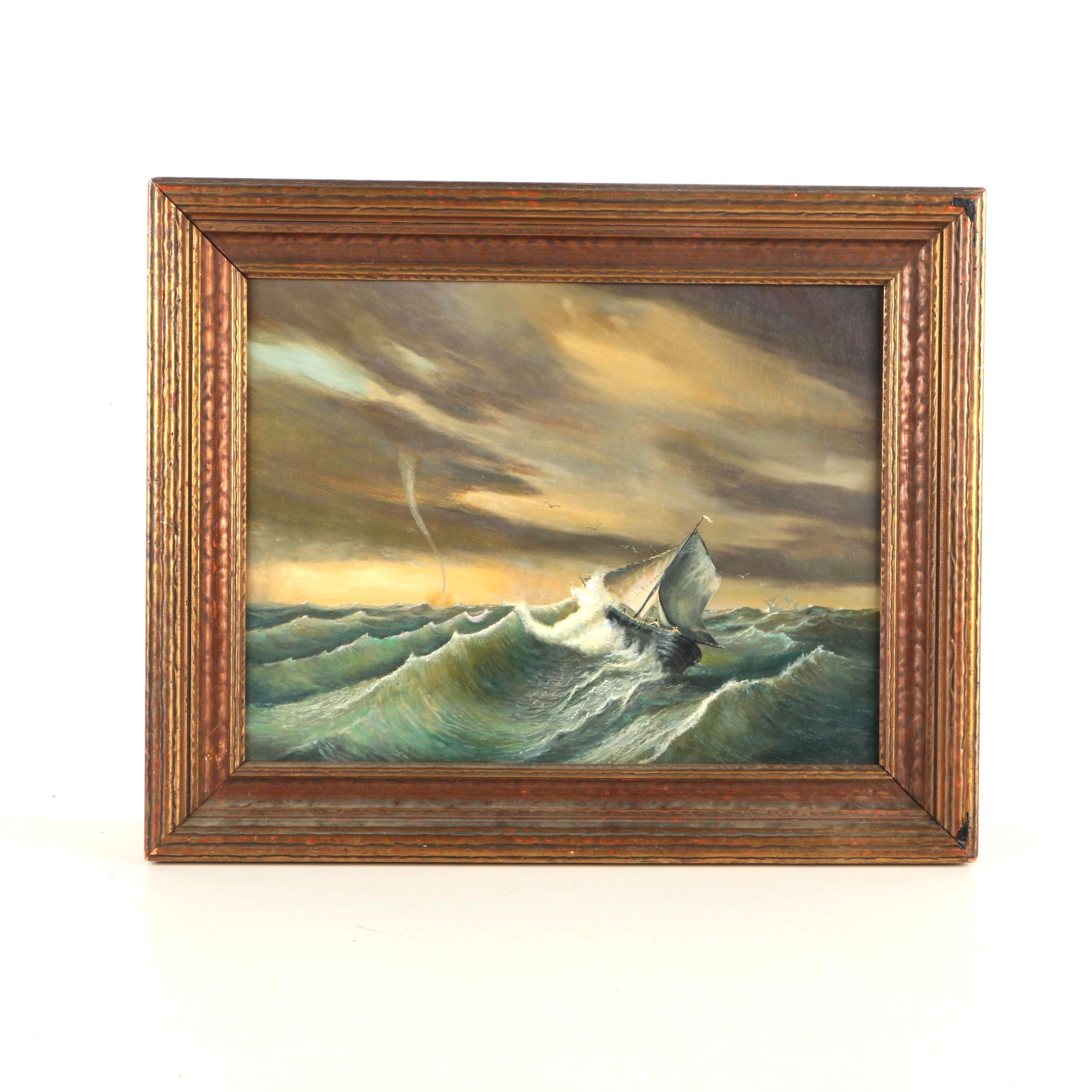 Oil Painting of Ships in a Storm in the Style of Mauritz de Haas