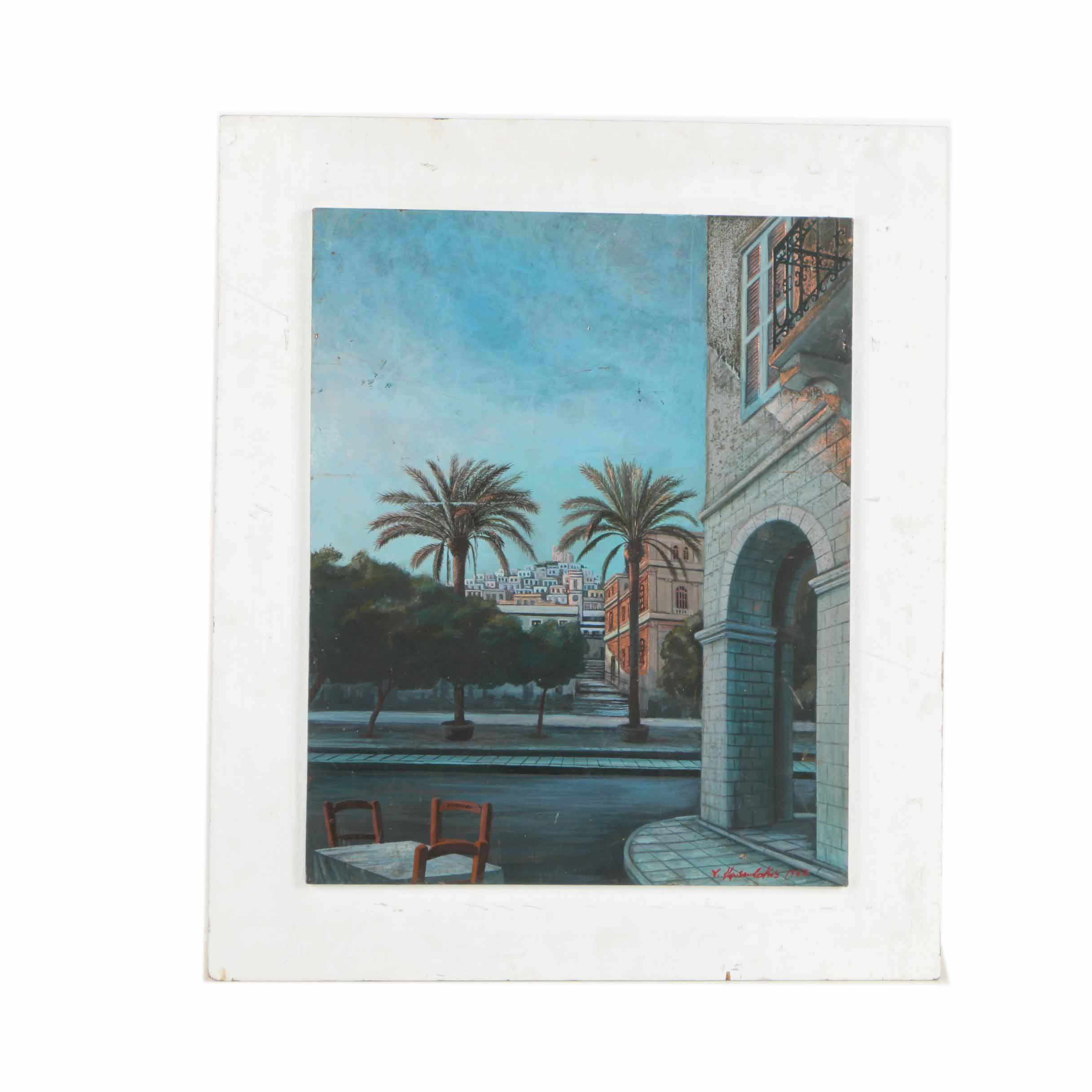 Signed Gouache on Copper Painting of Mediterranean Cityscape