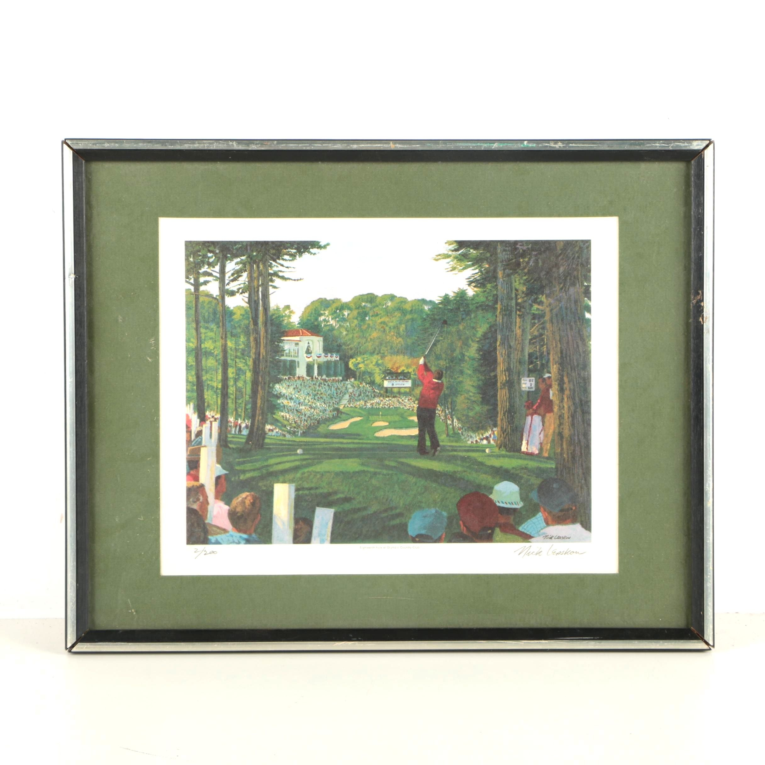 Nick Leaskou Limited Edition Offset Lithograph of a Golfer