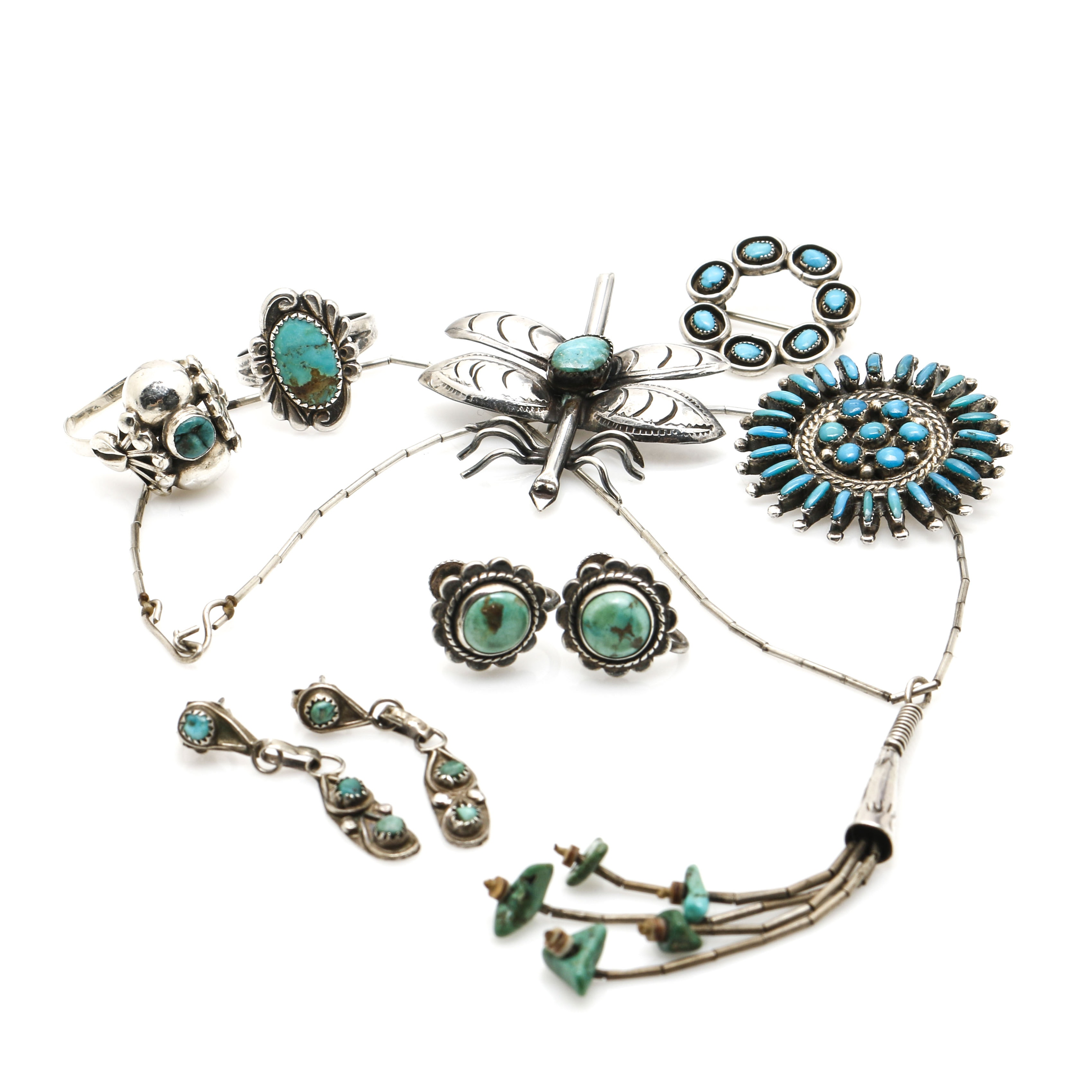 Southwestern Style Sterling Silver Turquoise Jewelry Featuring Bell Trading Post