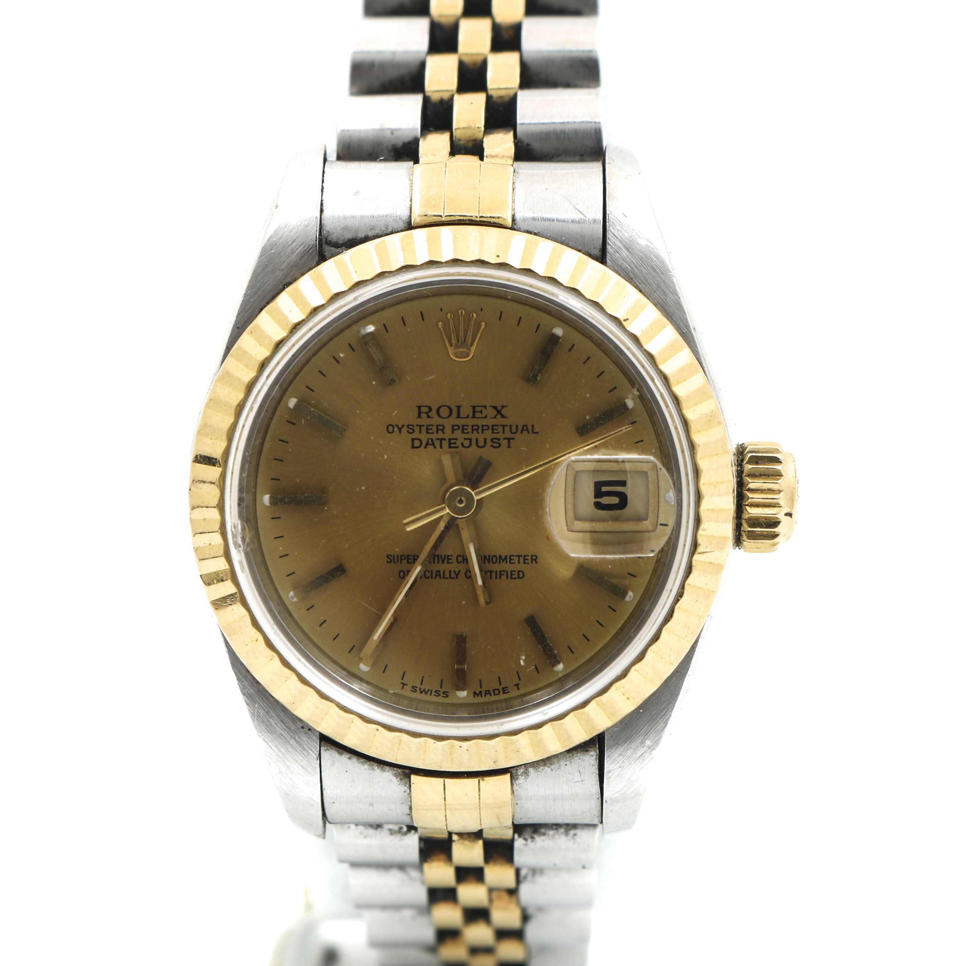 Rolex Oyster Perpetual Date Just 18K Yellow Gold & Stainless Steel Wristwatch
