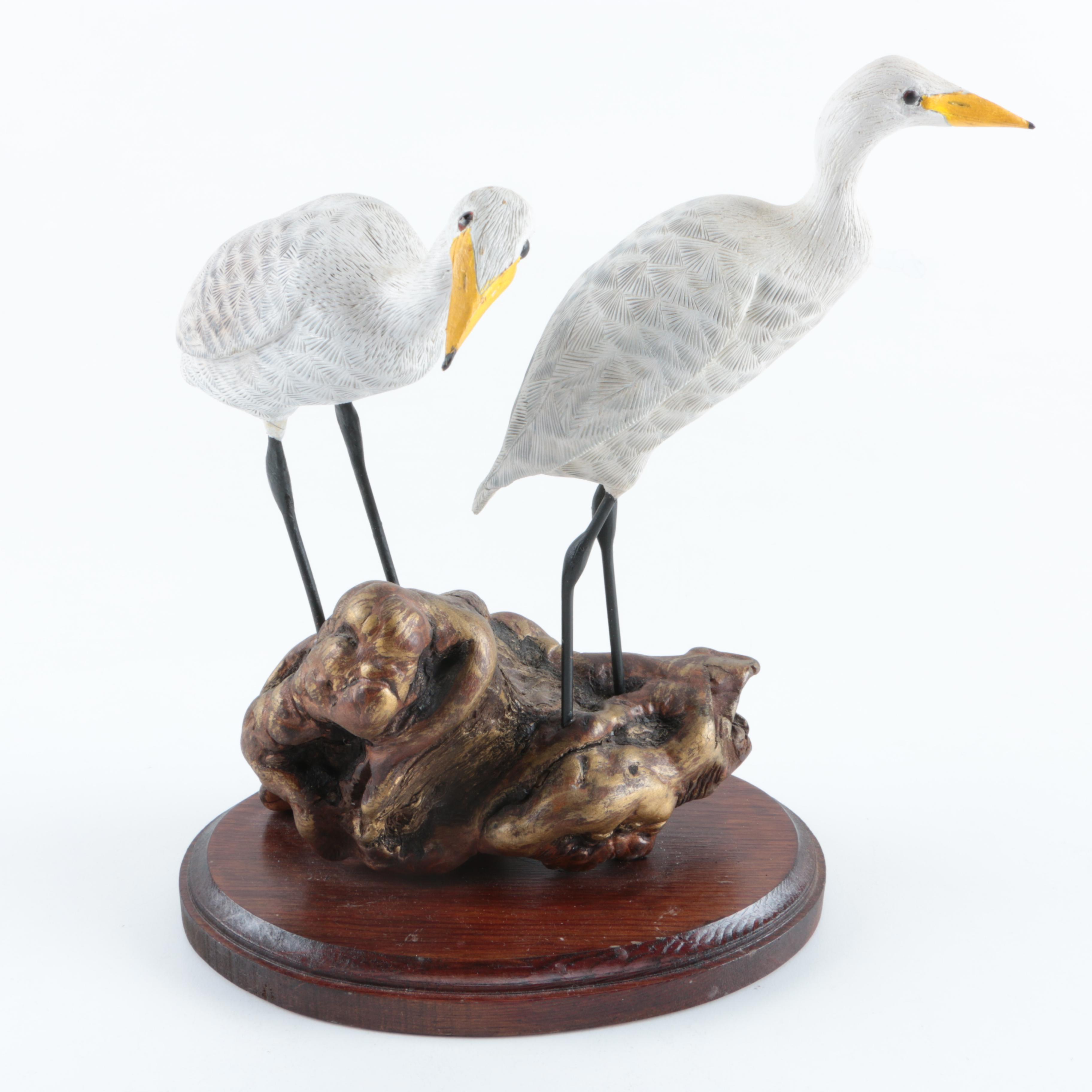 Tom Memolo Wooden Egret Sculpture