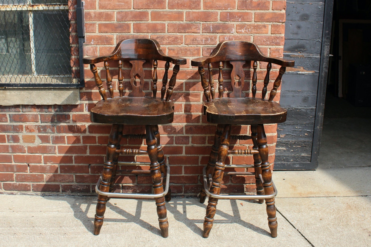 Pair Of Vintage Wooden Barstools