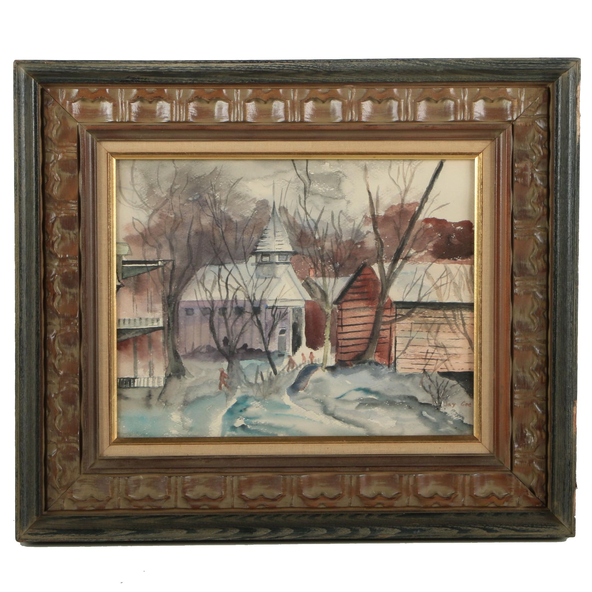 Jay Gee Watercolor Painting on Paper of a Winter Scene