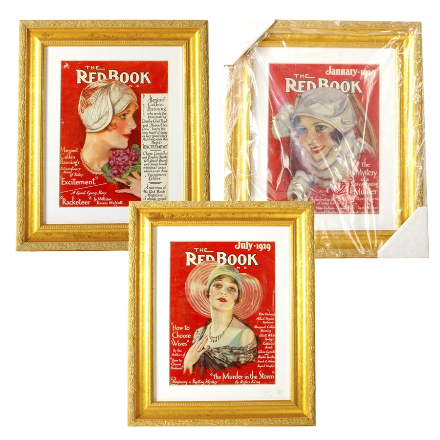 "Framed Vintage ""Redbook"" Covers"