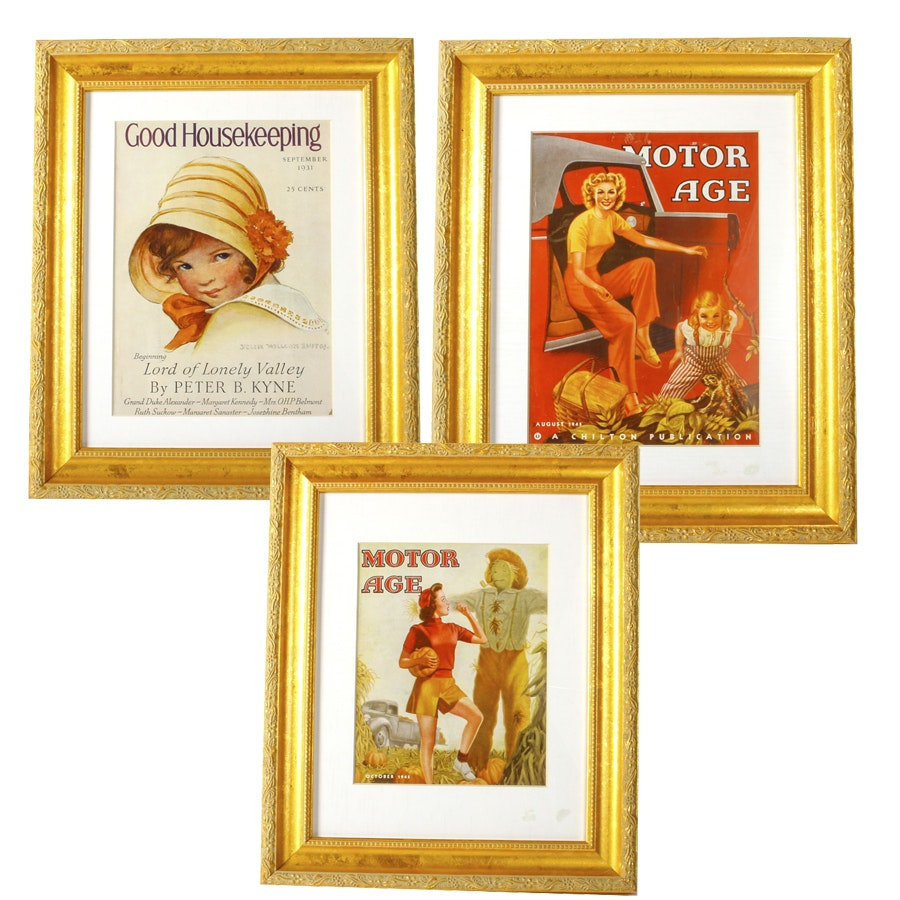 """Framed Magazine Covers From """"Good housekeeping"""" and """"Motor Age"""""""