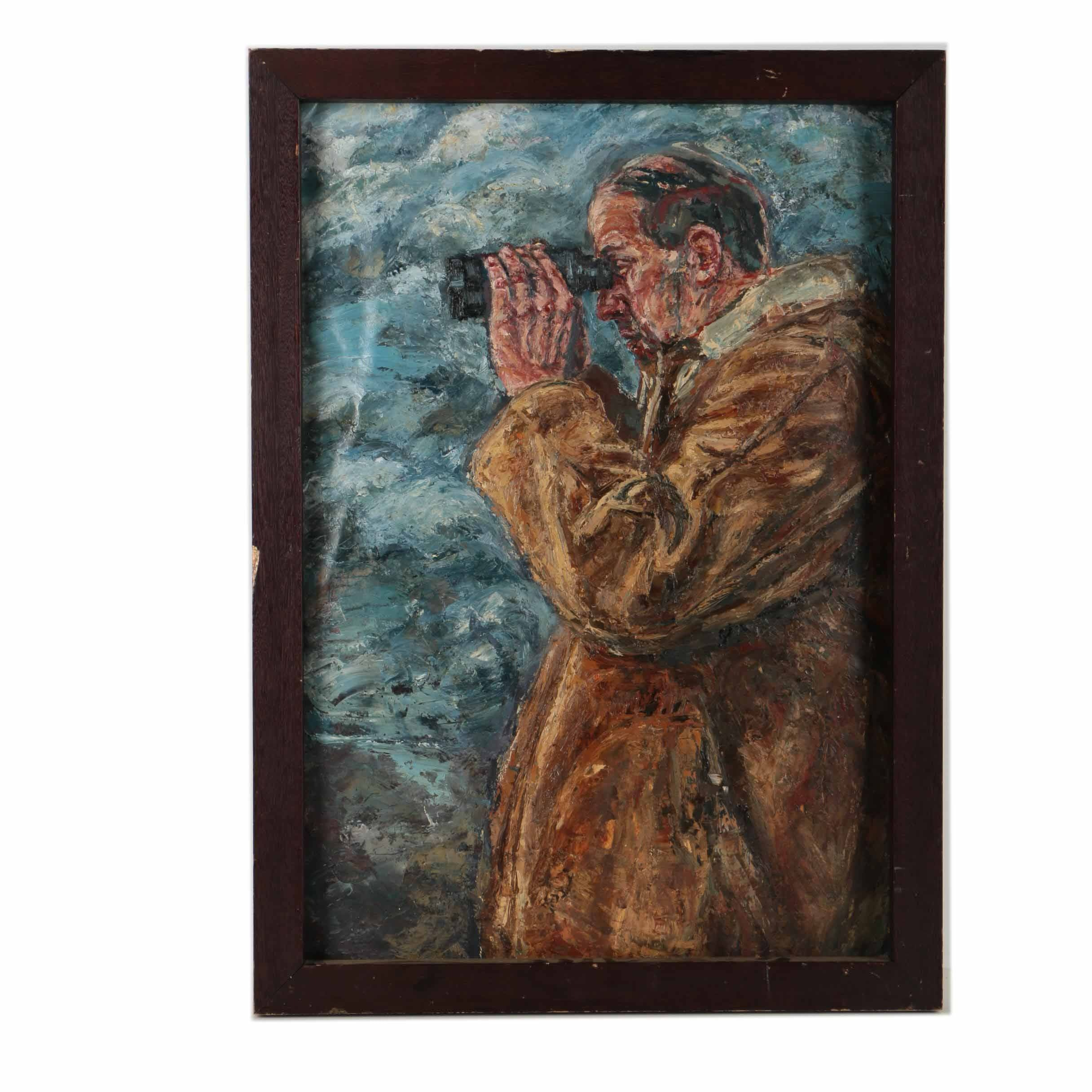 "Tim Pryke Oil Painting on Paper ""Man With Binoculars"""