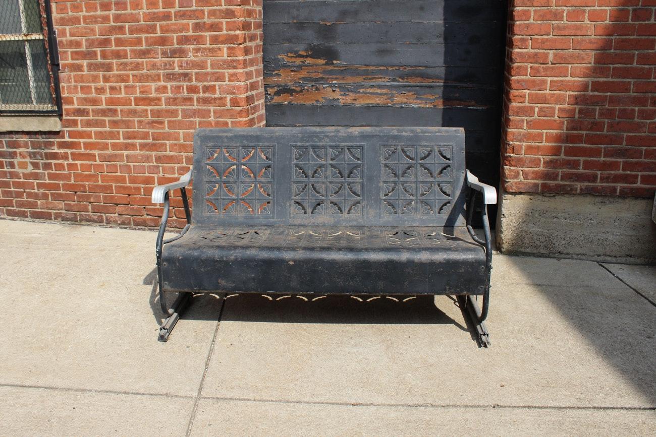 Mid-Century Metal Outdoor Glider Bench