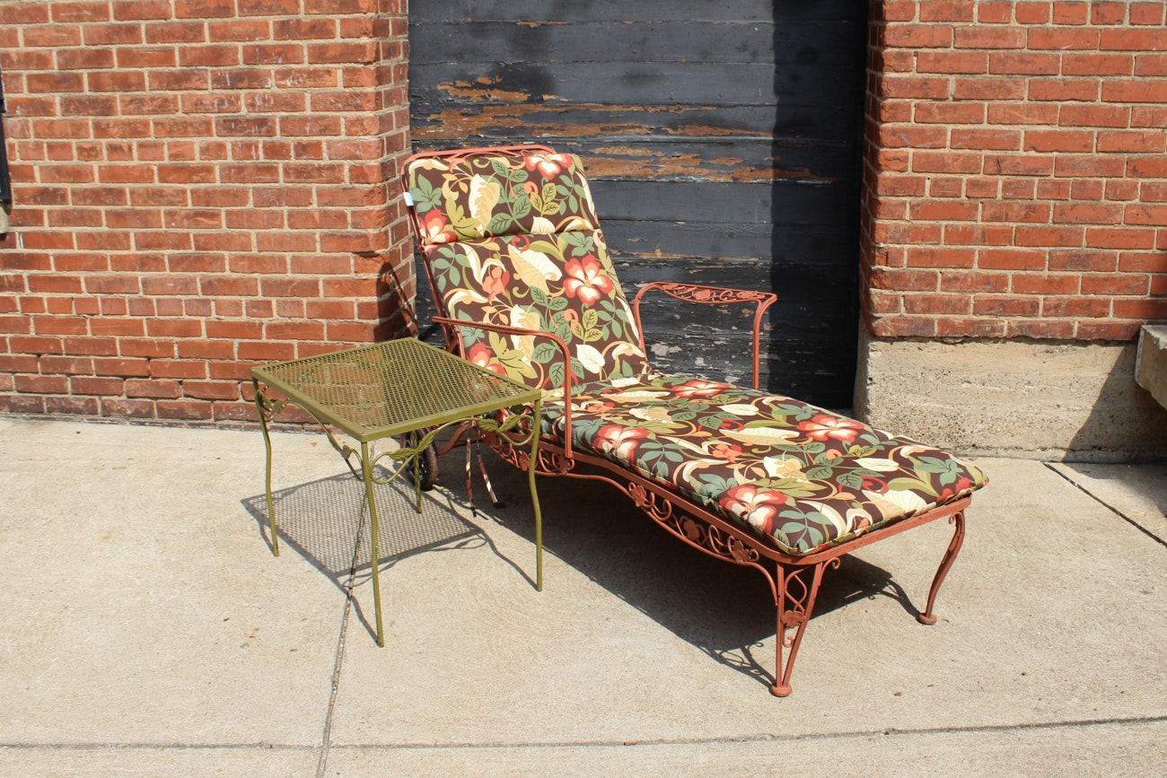 Wrought Iron Lounge Chair and Table