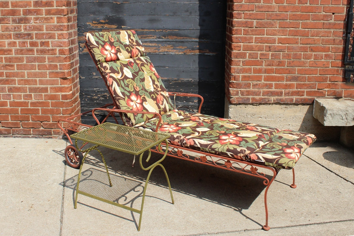 Wrought Iron Reclining Lounge and Table