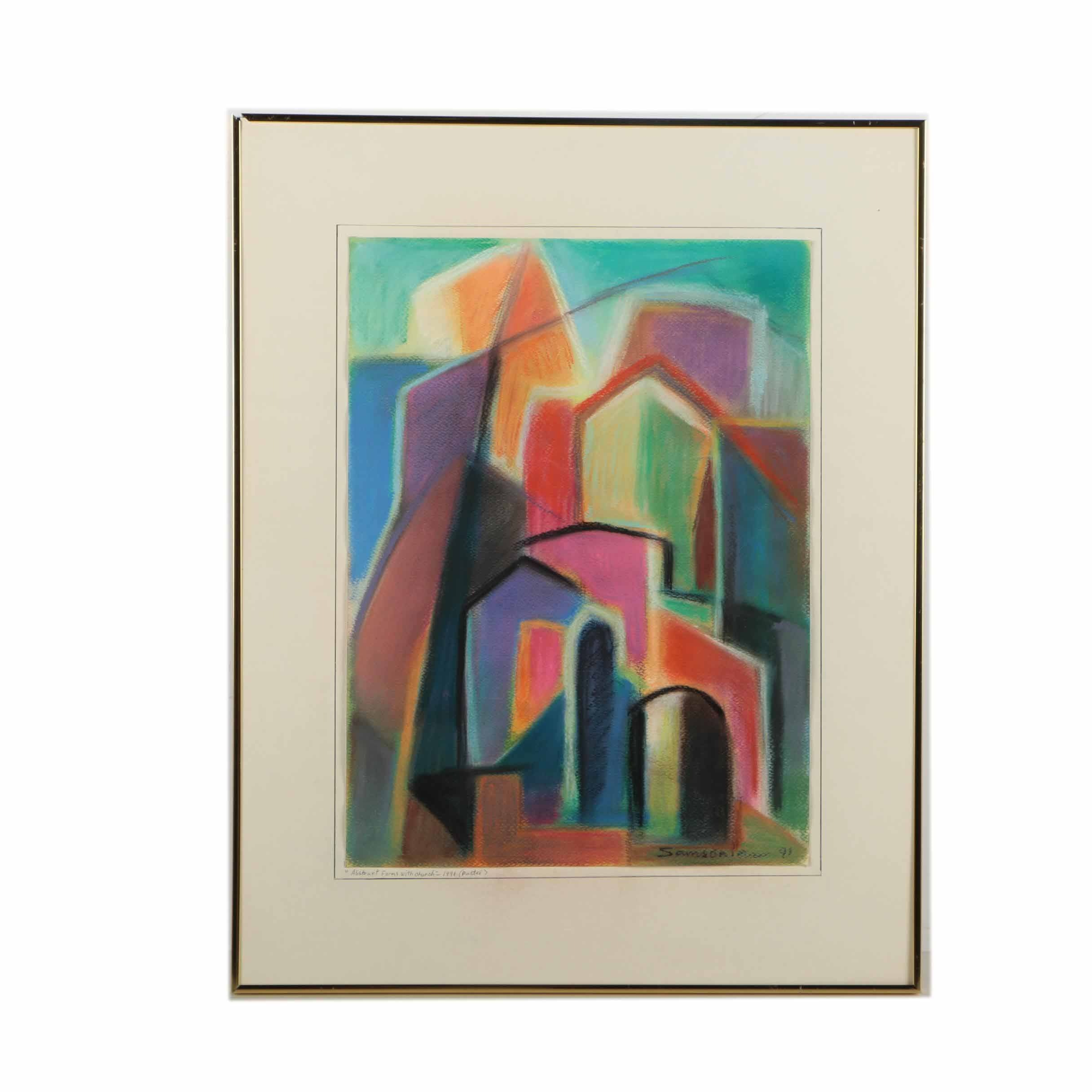 """Simon Samsonian Pastel Drawing """"Abstract Forms with Church"""""""