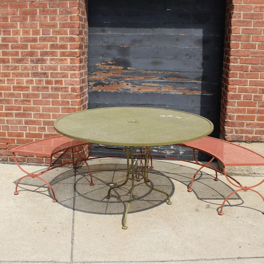 Stupendous Wrought Iron Patio Table And Benches By Salterini Short Links Chair Design For Home Short Linksinfo