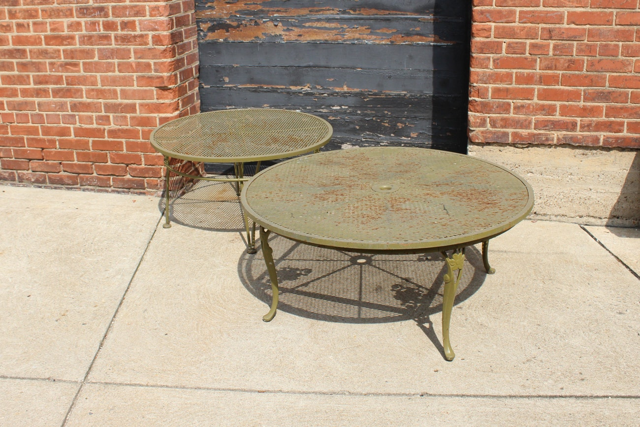 Pair of Vintage Olive Green Metal Patio Tables