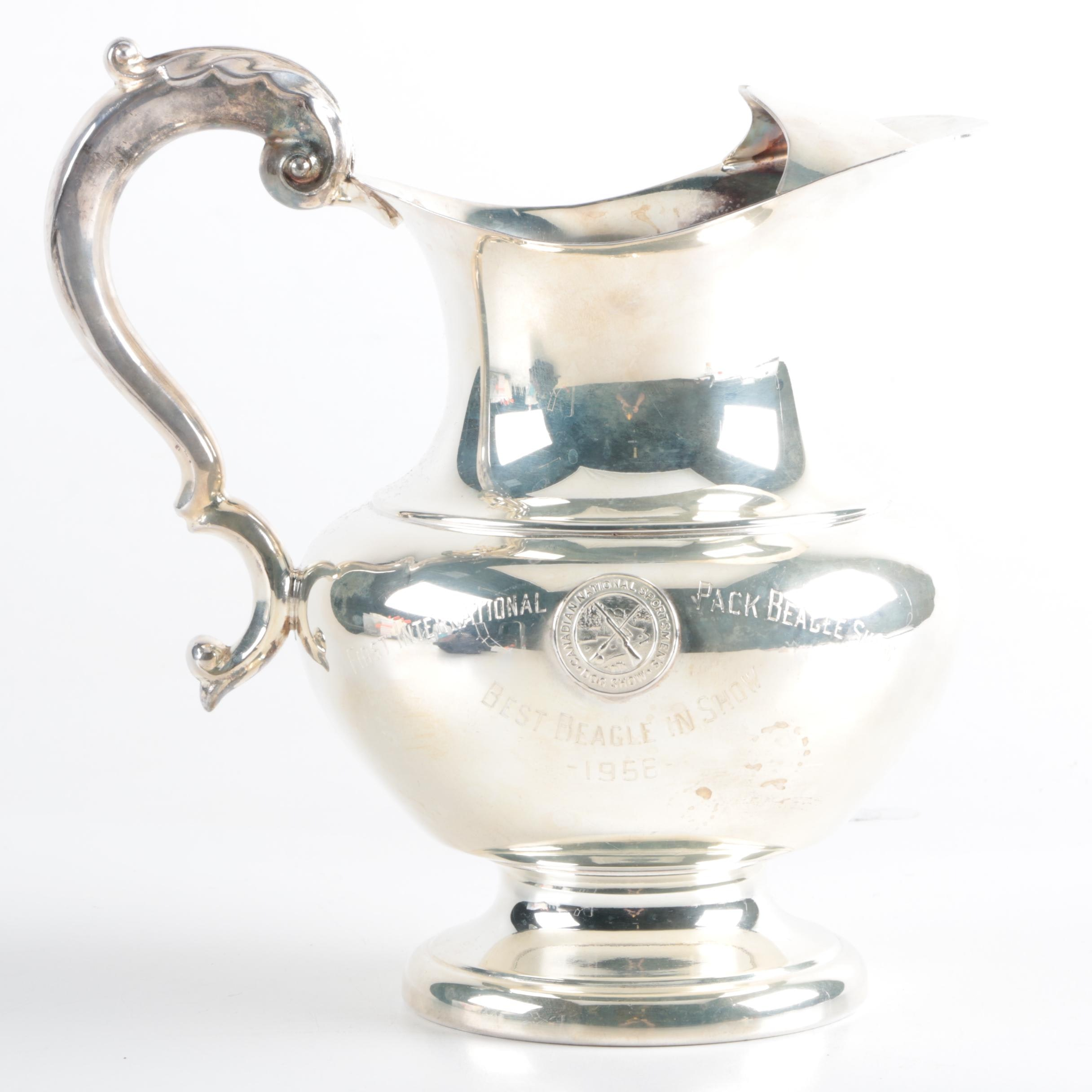"""Plated Silver Pitcher with """"Best Beagle in Show"""" Engraving"""