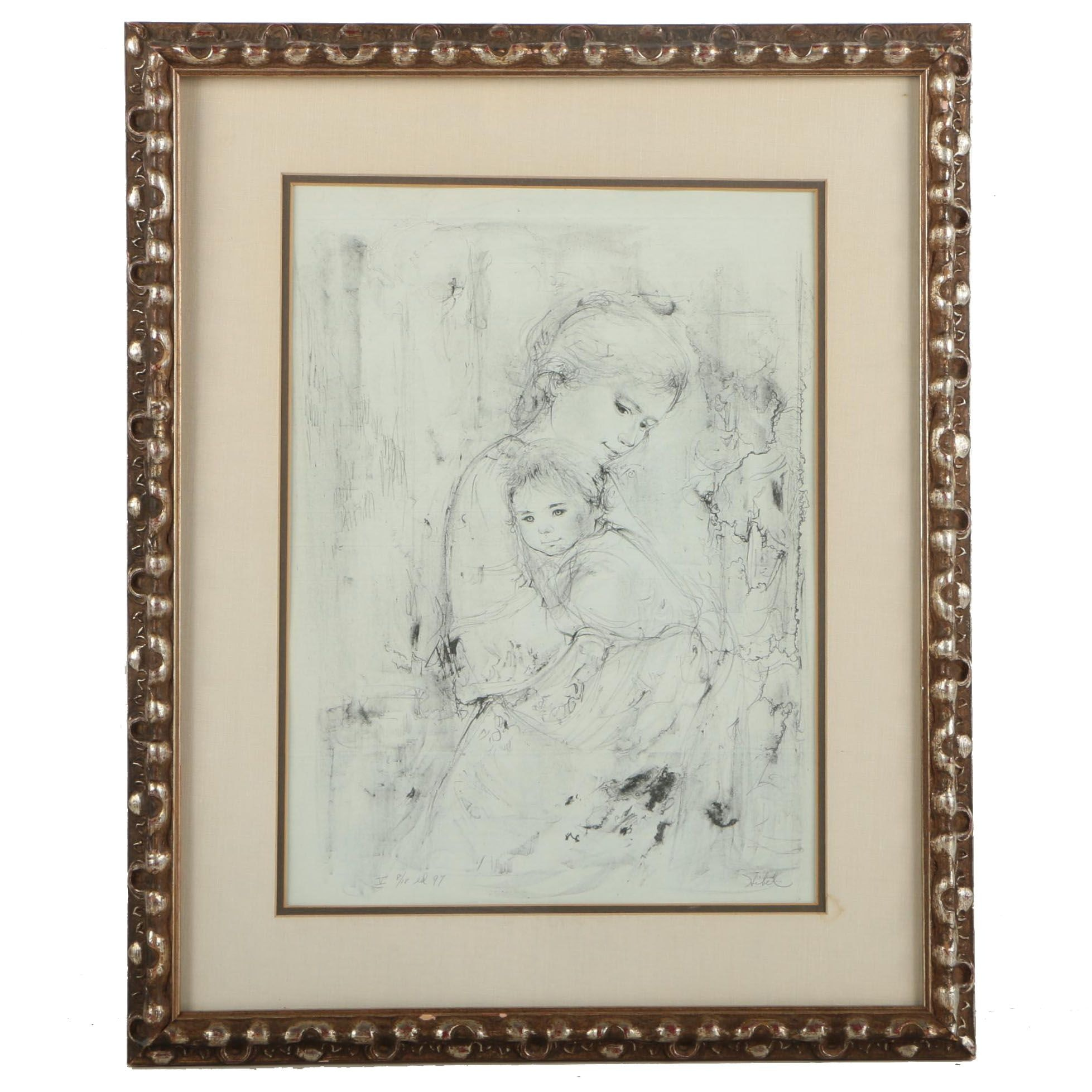 Edna Hibel Limited Edition Lithograph of a Mother and Child