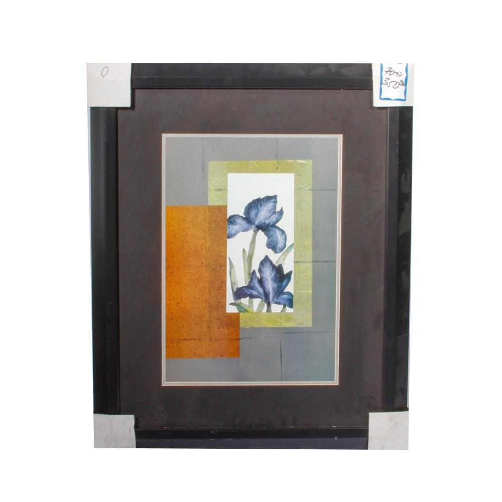 Contemporary Framed Print of Irises