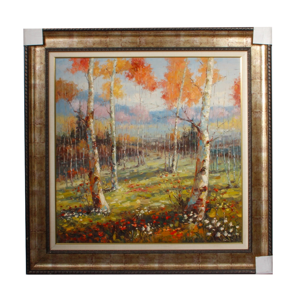 Framed Painting of a Forest in Autumn