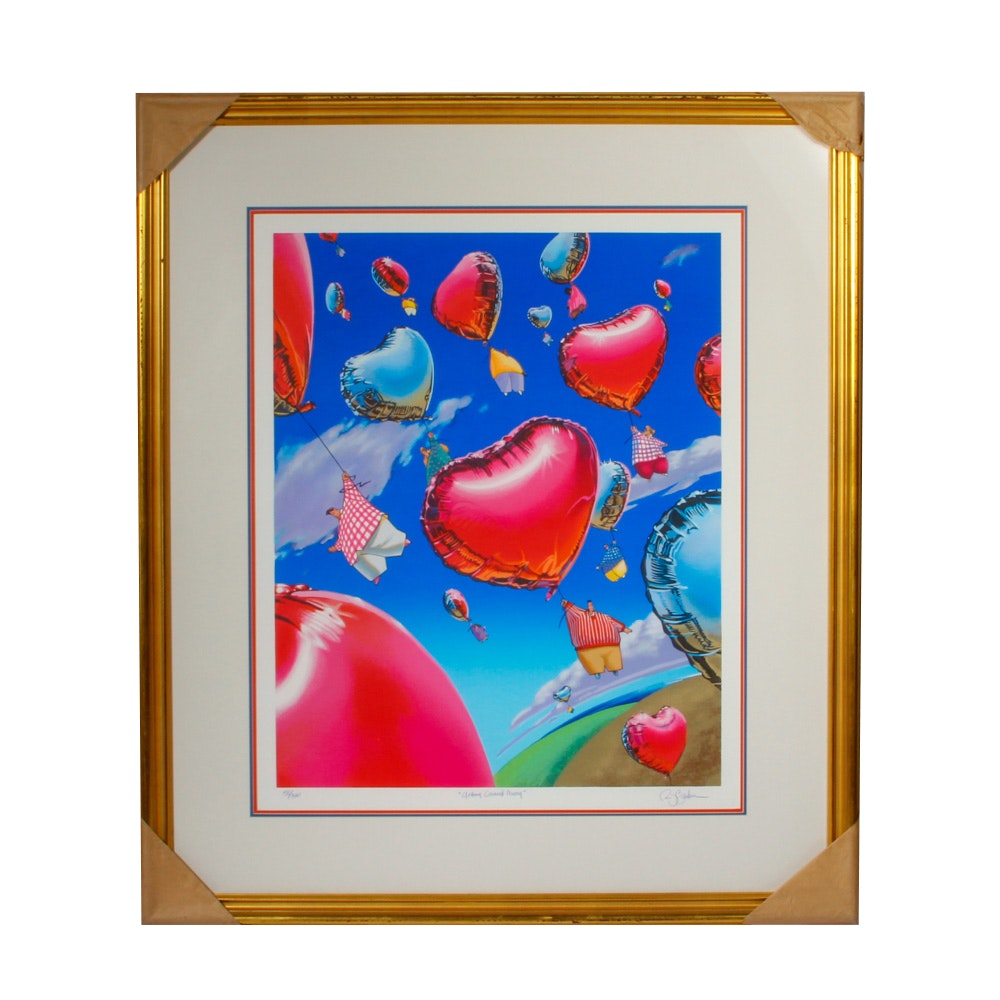 """Robert Barber Signed Limited Edition Serigraph """"Getting Carried Away"""""""