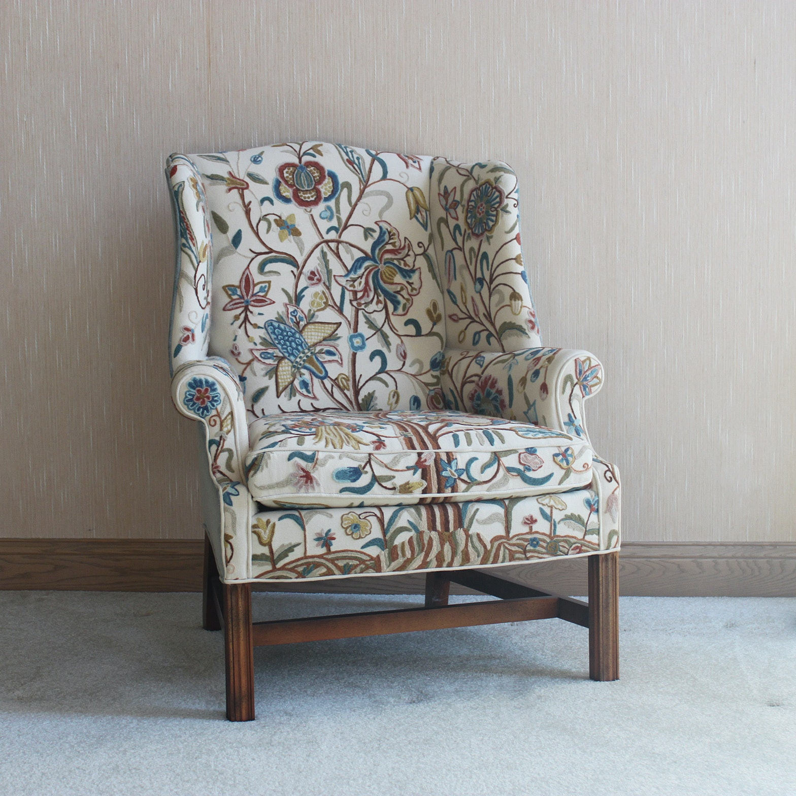 Wingback Chair With Crewel Embroidery Upholstery