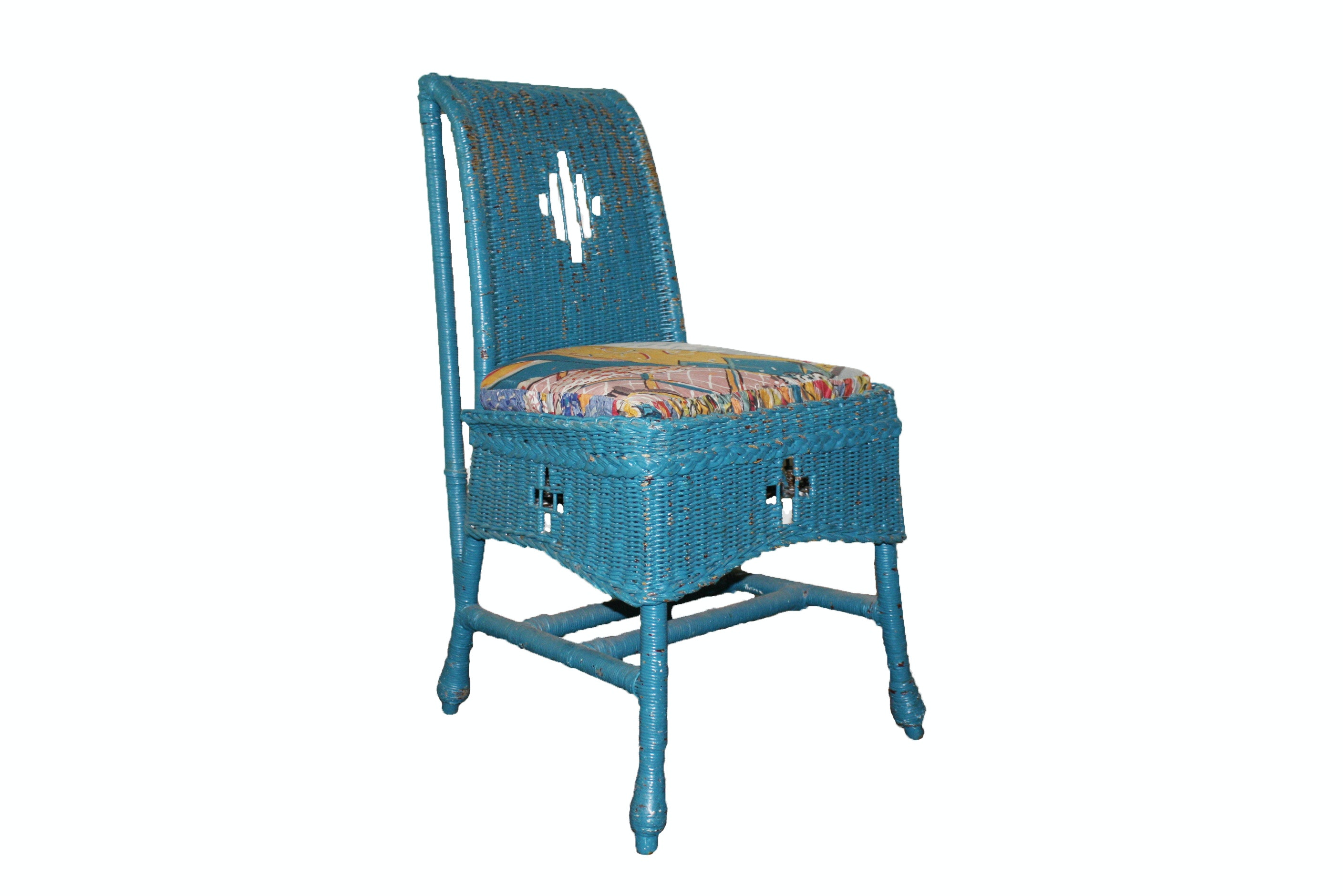 Vintage Blue Wicker Chair by Kaltex