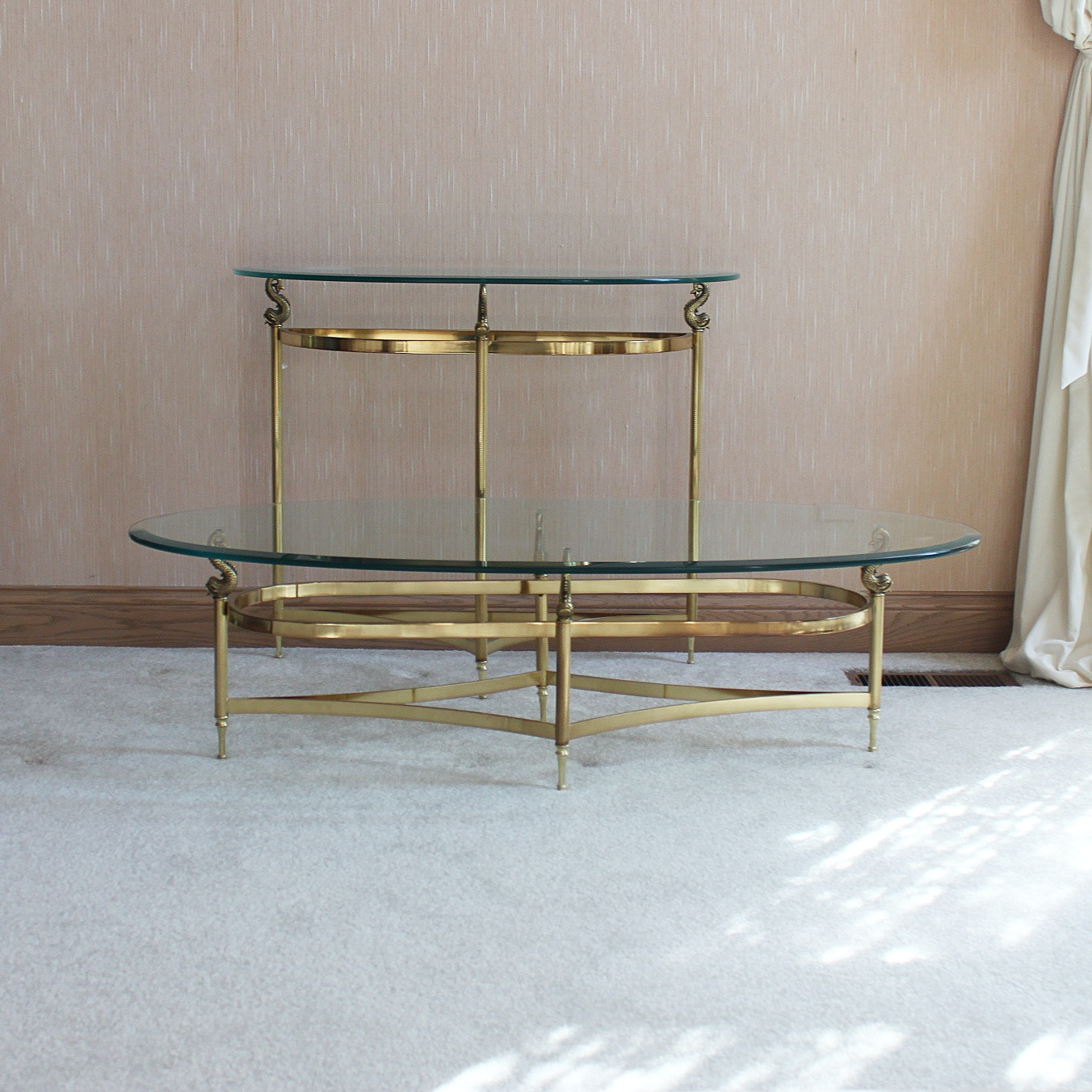 Brass Coffee Table and Console Table with Fish Accents