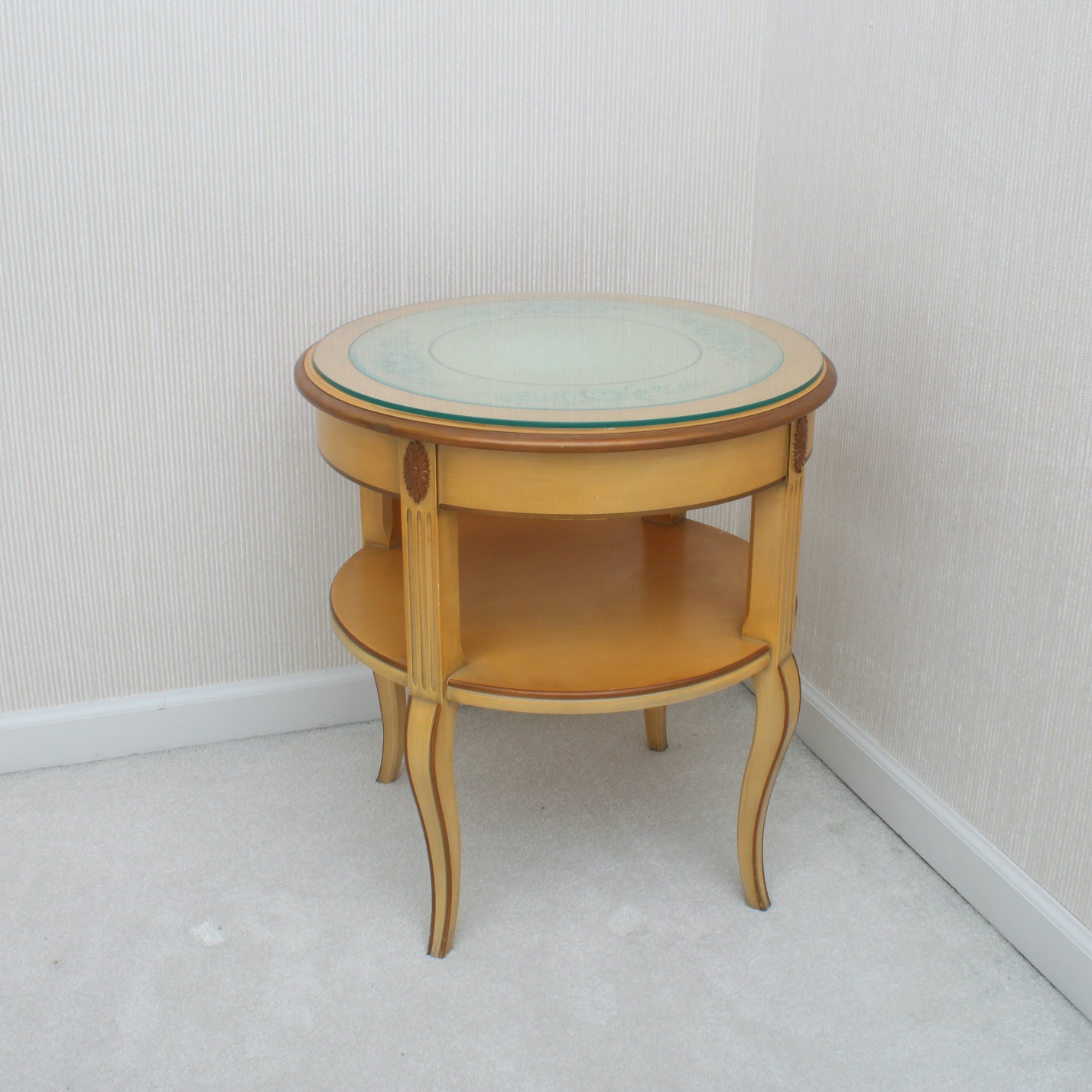 Vintage Wooden French Provincial Style Side Table