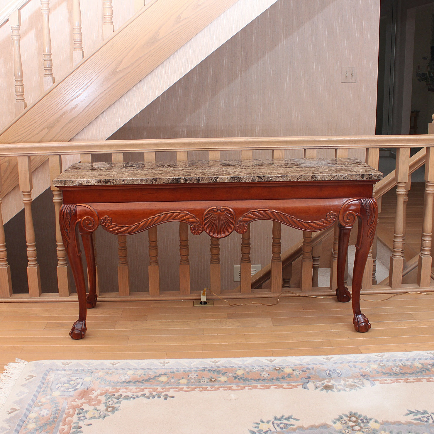 Stone Top Chippendale Style Console Table