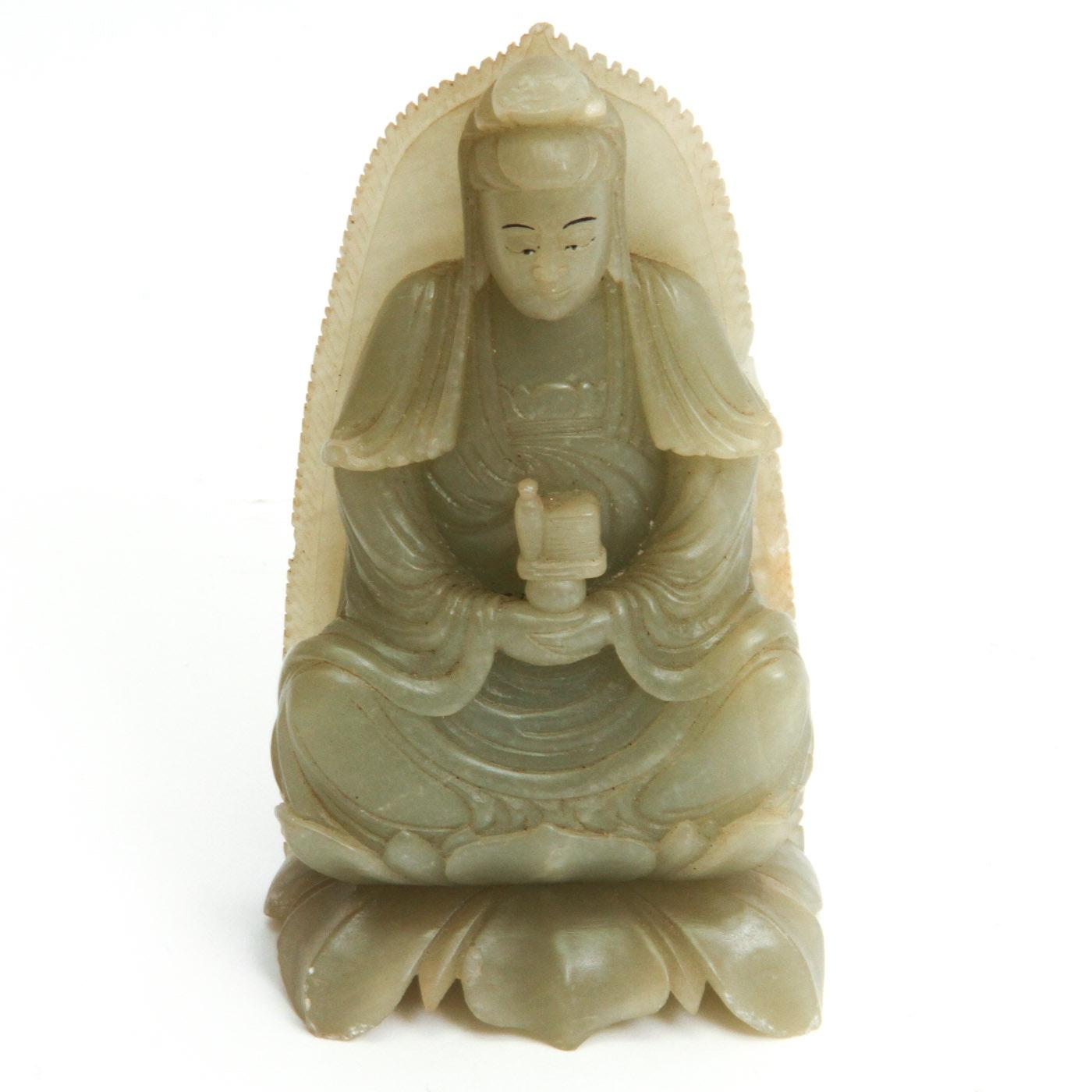 Vintage Carved Serpentine Buddha Carving