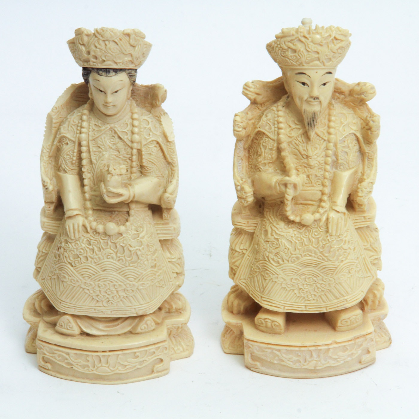 Pair of Relief Chinese Nobility Figurines