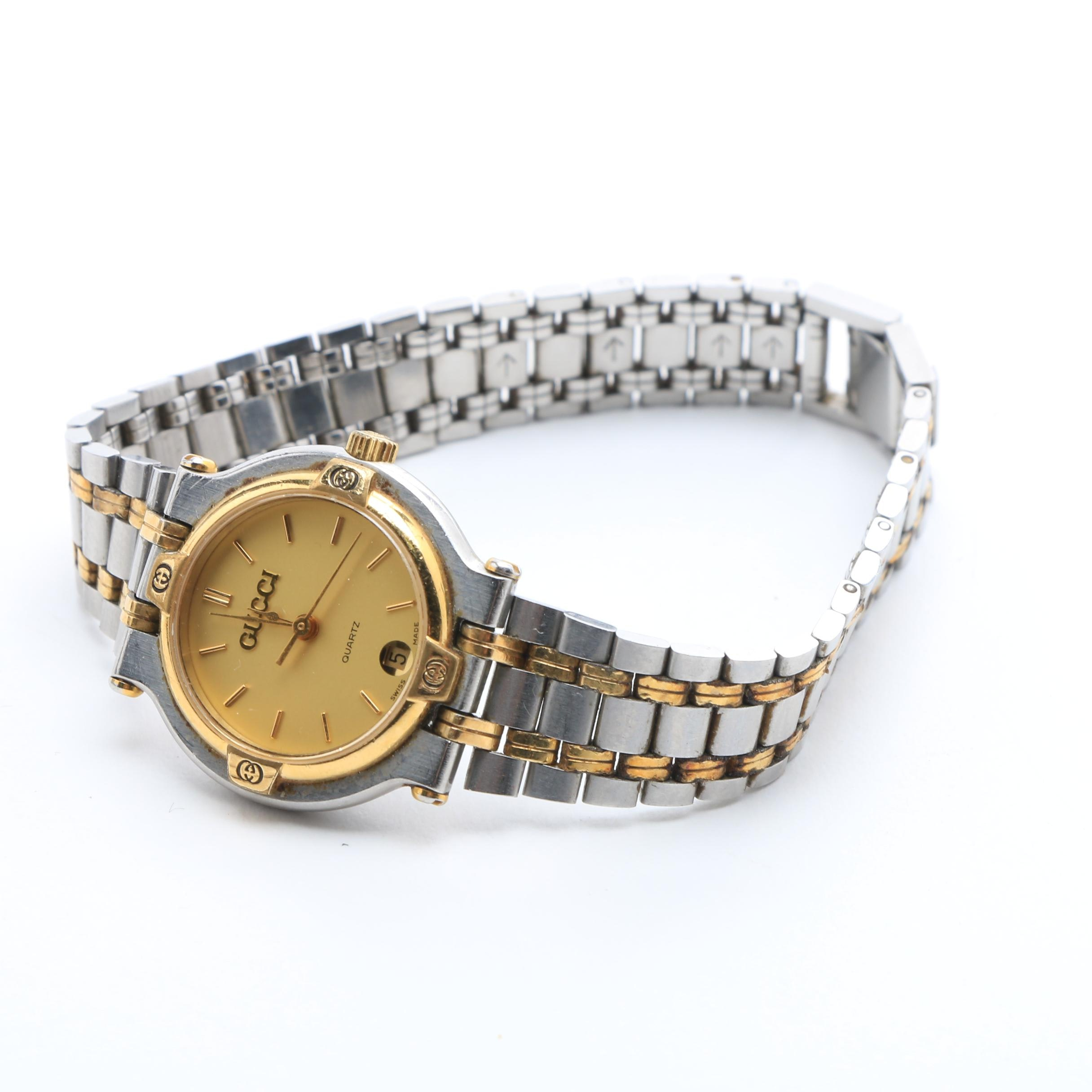 Vintage Gucci 9000L Wristwatch with Two Tone Gold and Stainless Steel Bracelet