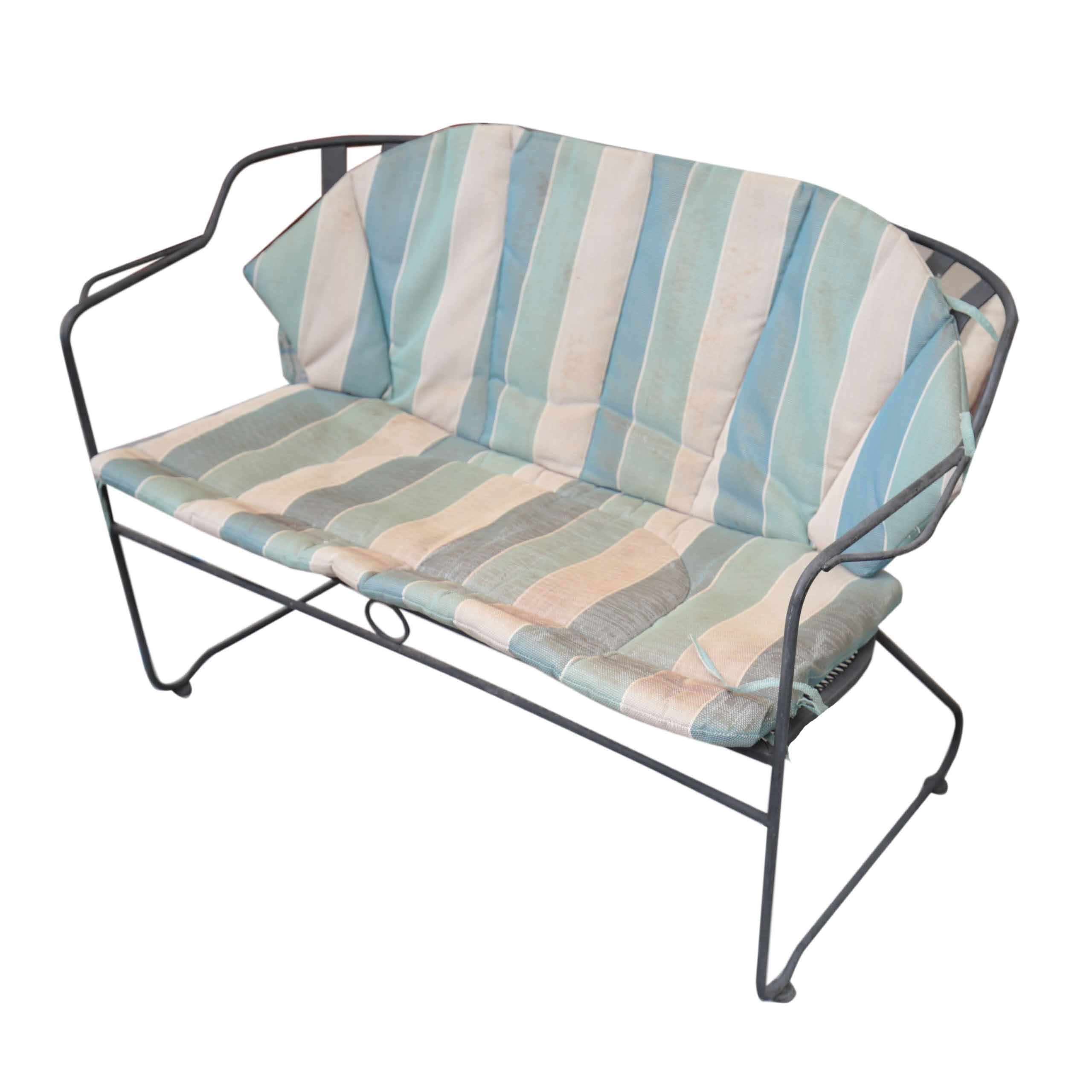 Vintage Metal Patio Settee with Cushion