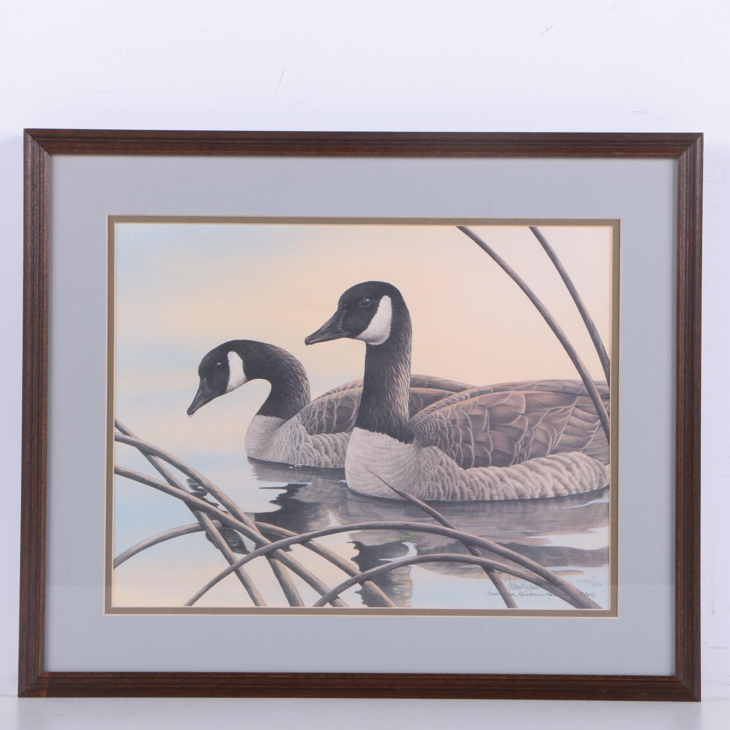 Sherrie Russell Meline Limited Edition Offset Lithograph of Canada Geese