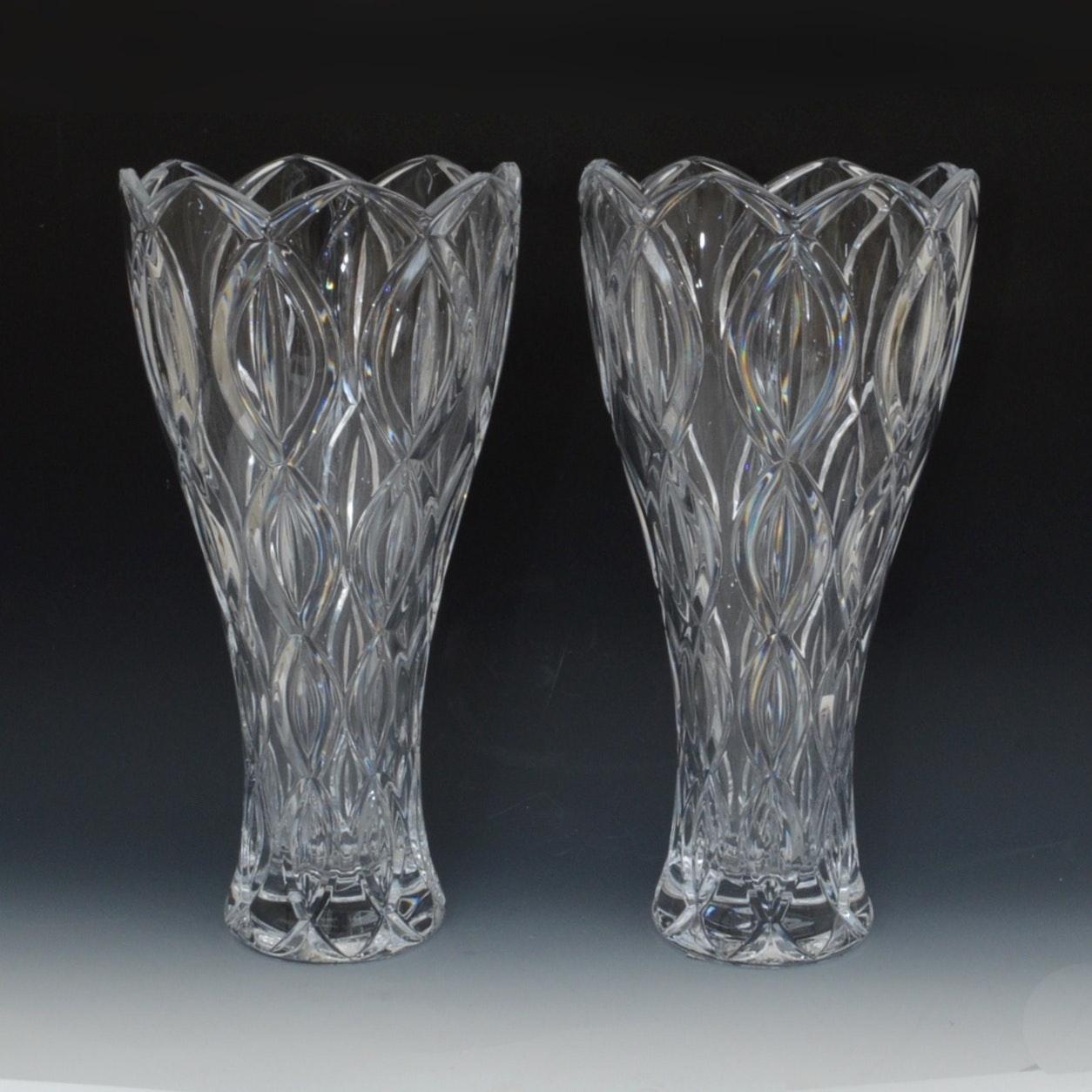 "Pair of Lenox Crystal ""Ribbon"" Vases"