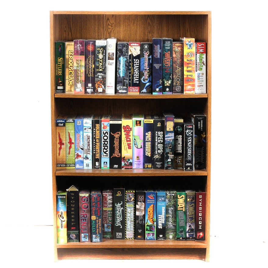 Vintage PC Based Video Games With Bookshelf