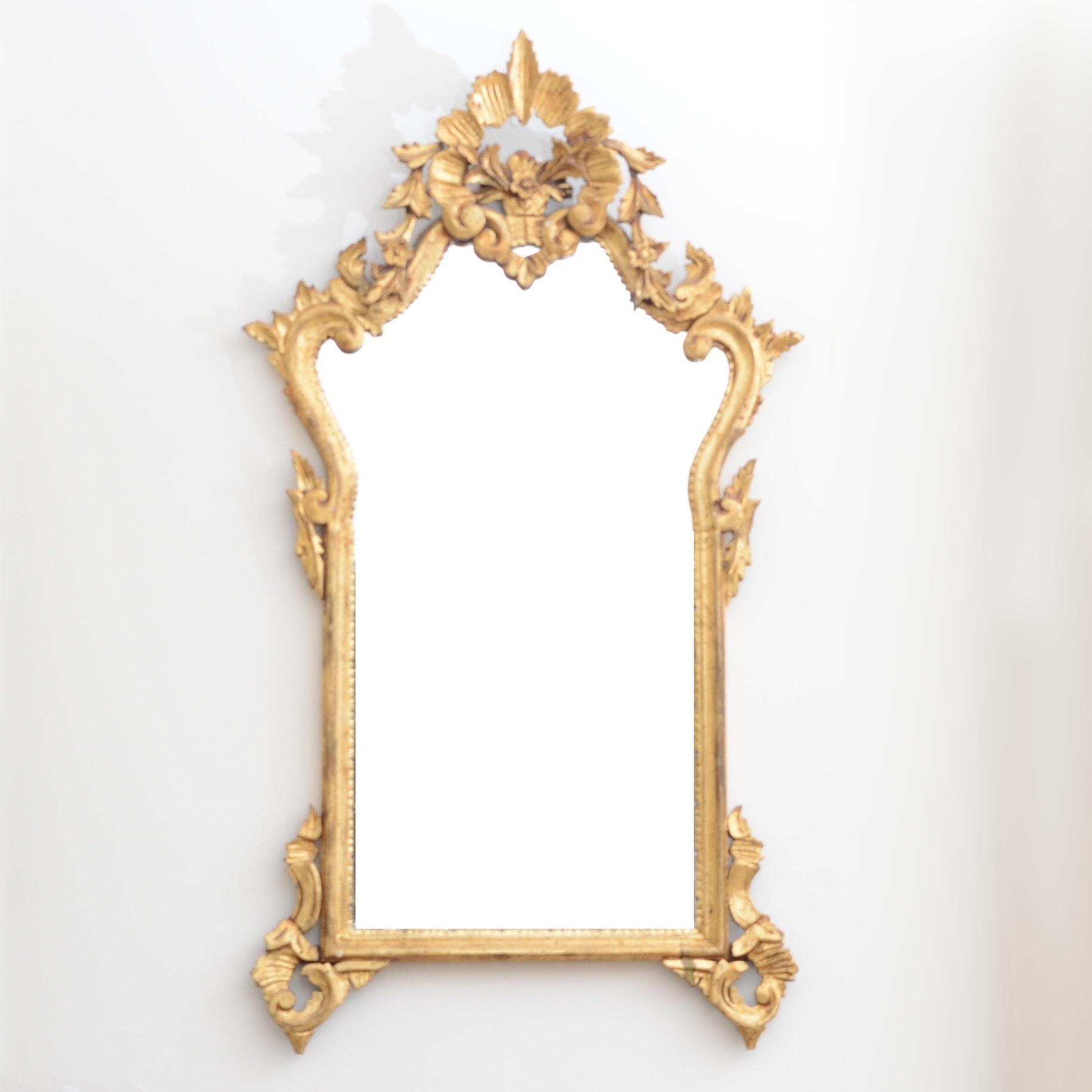Vintage Gold Tone Wood Framed Wall Mirror