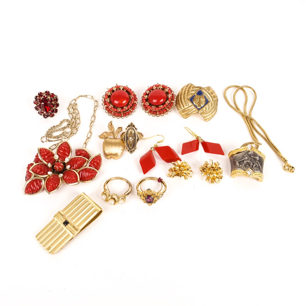 Assortment of Vintage Costume Jewelry Including Avon