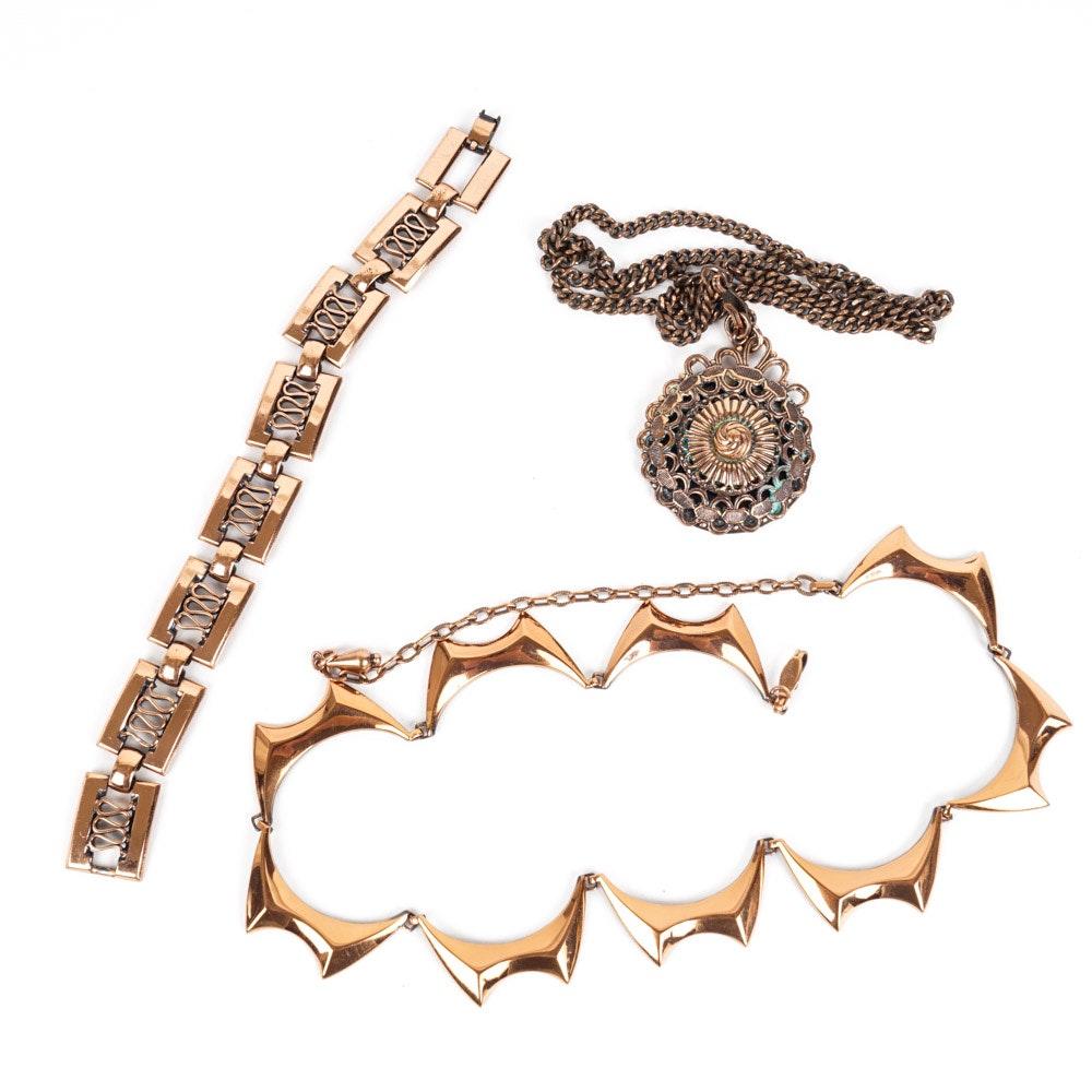 Vintage Renoir Copper Tone Metal Jewelry