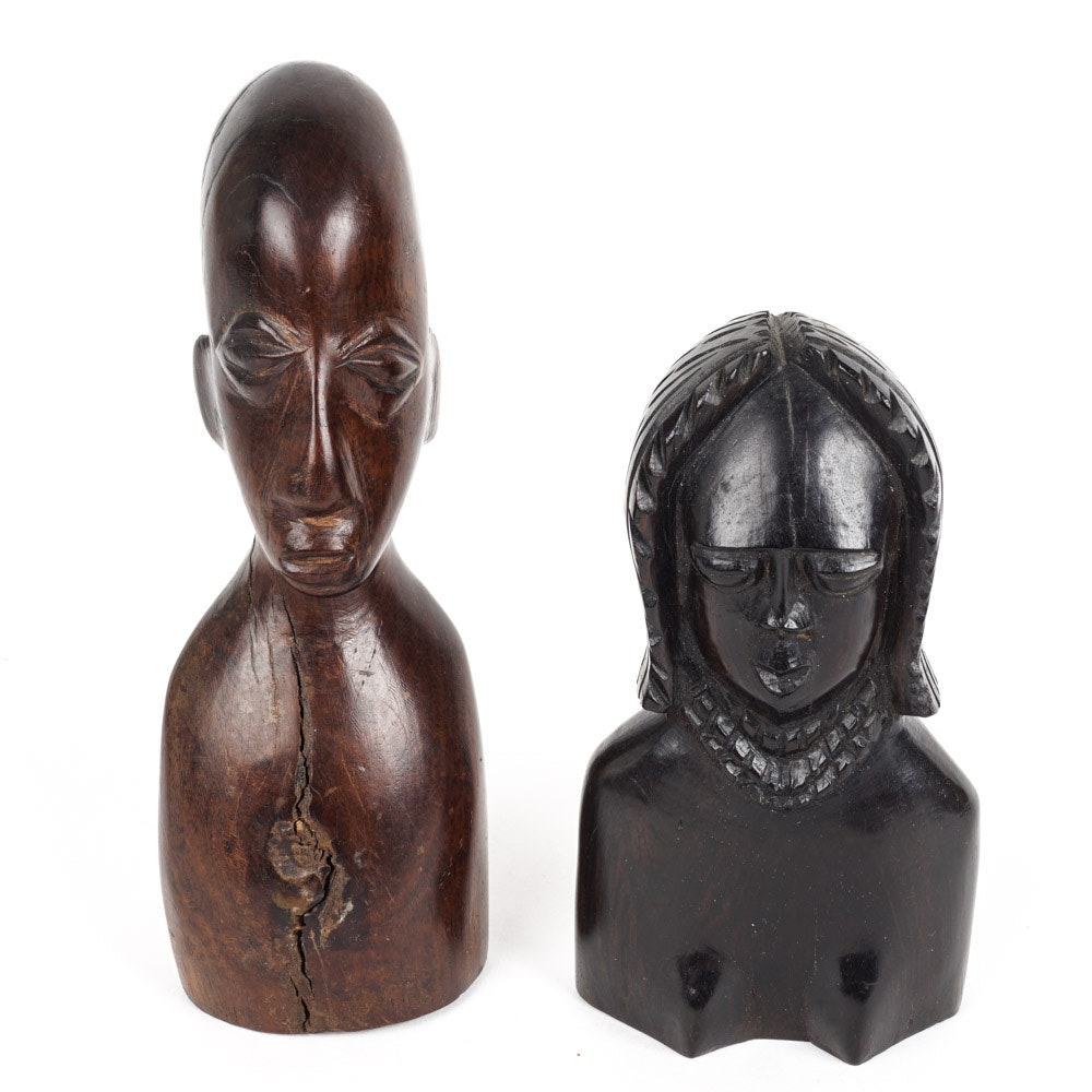 Pair of Carved Wooden Artifacts