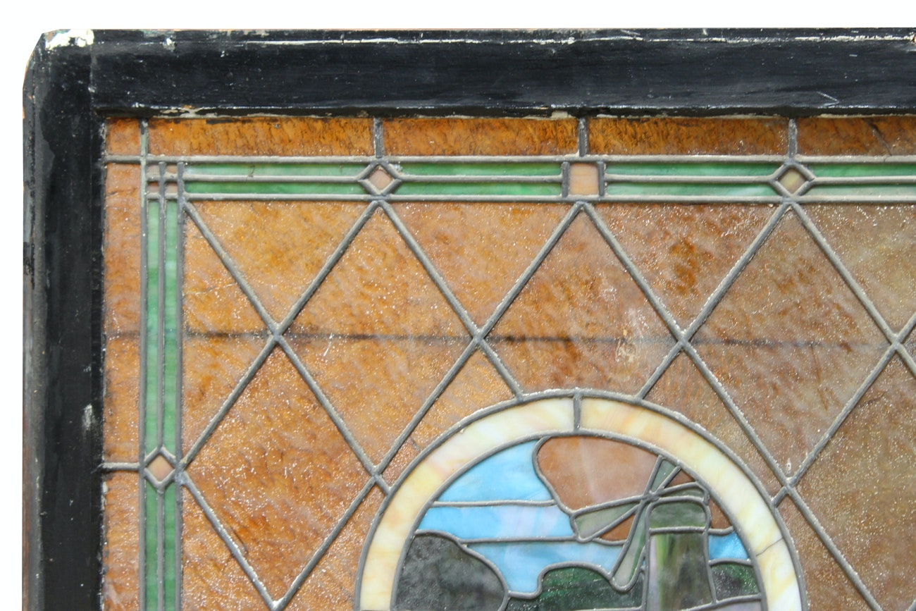 1920s stained glass window panels of windmill ebth for 1920s window