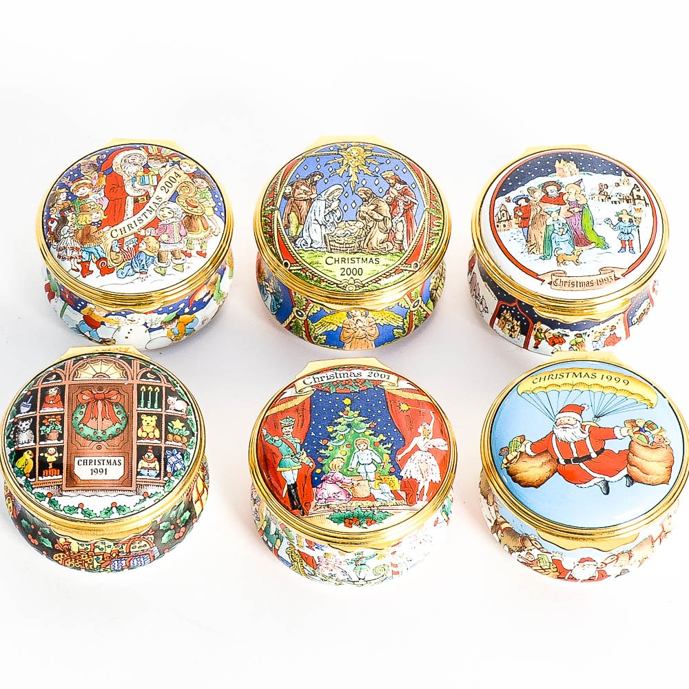 Collection of Halcyon Days Christmas Enamel Boxes