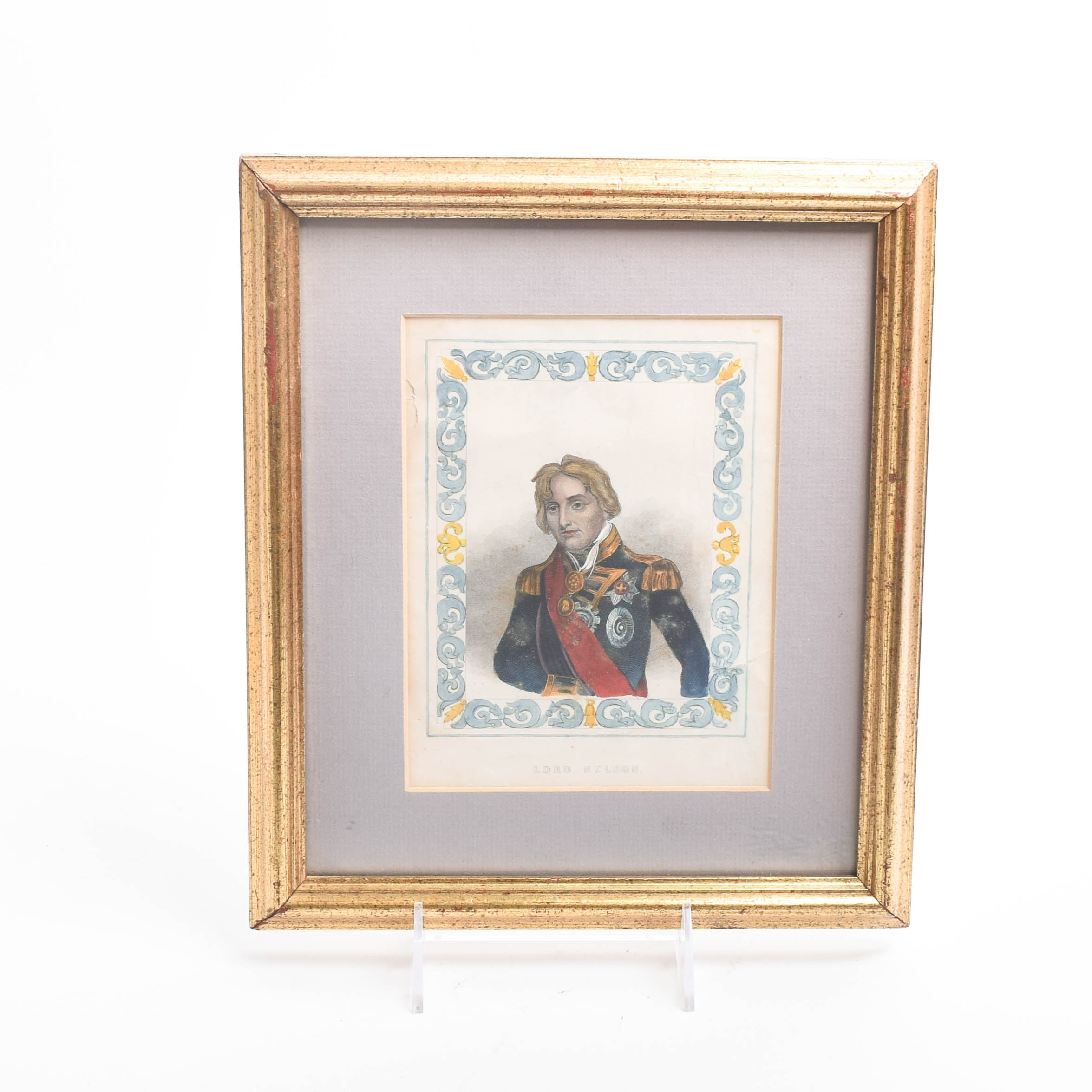 Antique Colored Engraving on Paper of Lord Nelson
