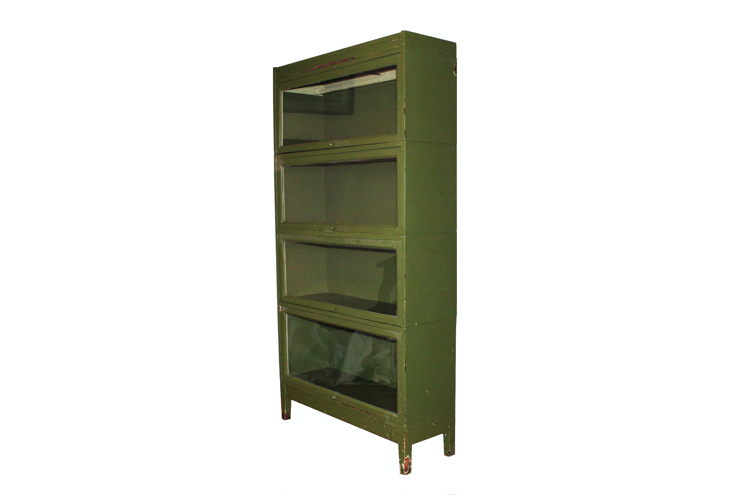 Vintage Painted Green Barrister Bookcase
