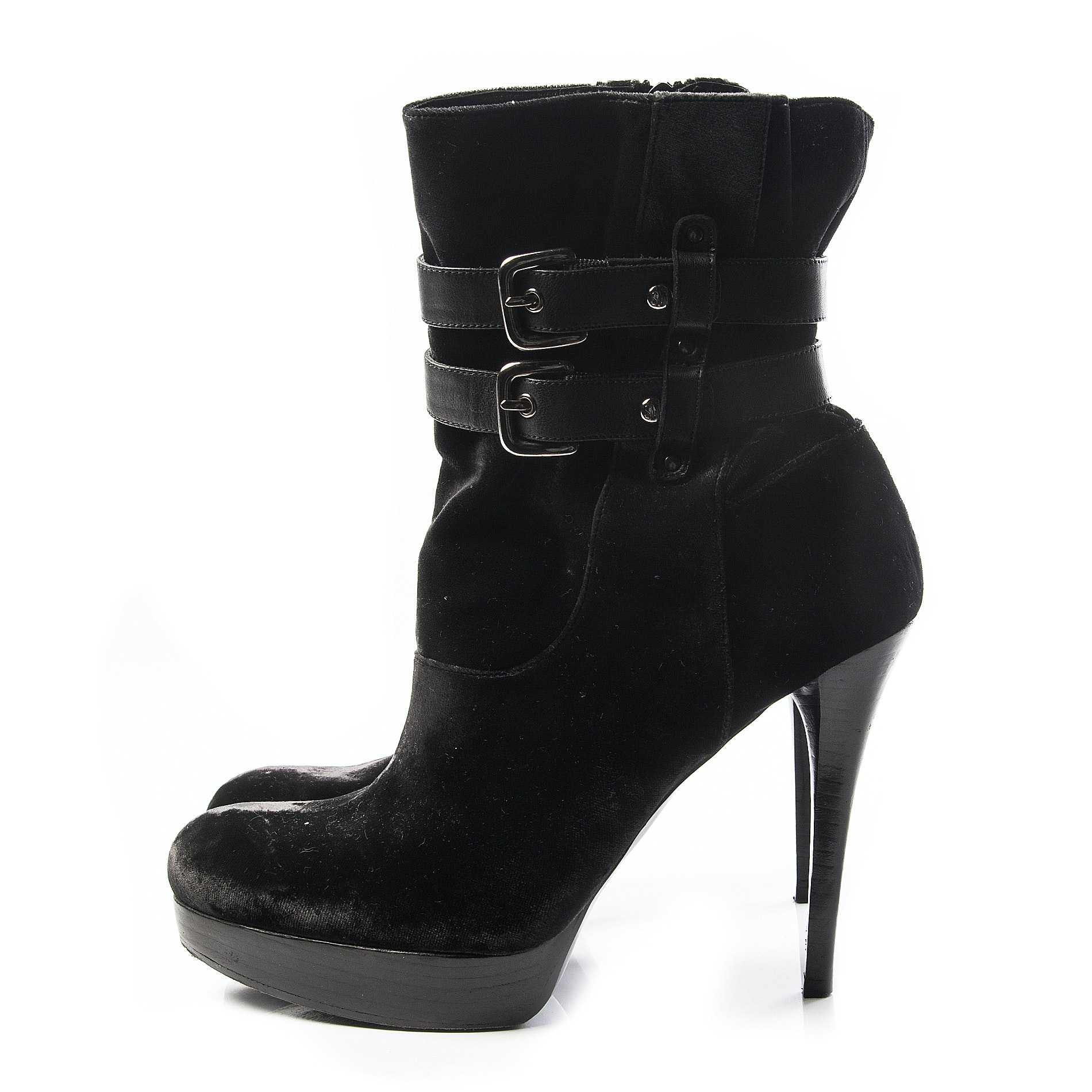 Stuart Weitzman Black Velvet Platform Ankle Boots