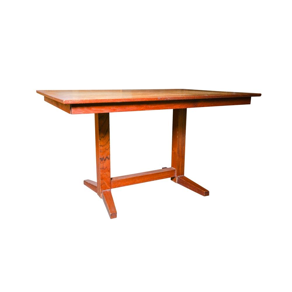 Vintage Teak Trestle Concealed Leaf Table