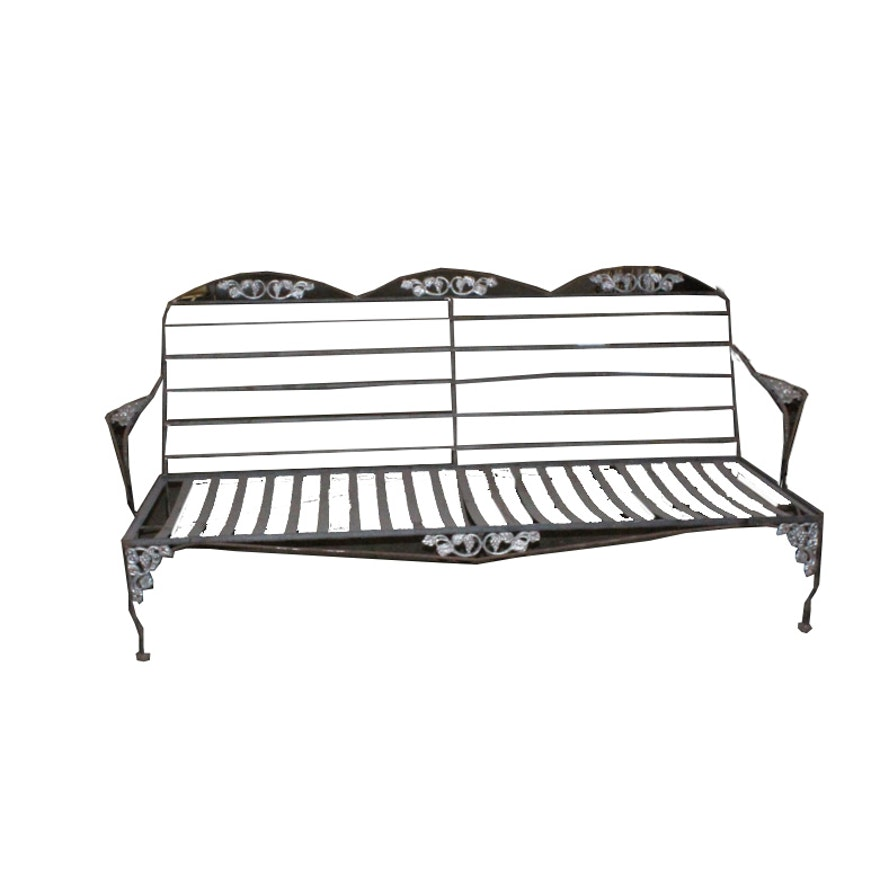 Magnificent Vintage Metal Patio Settee Frame Bralicious Painted Fabric Chair Ideas Braliciousco