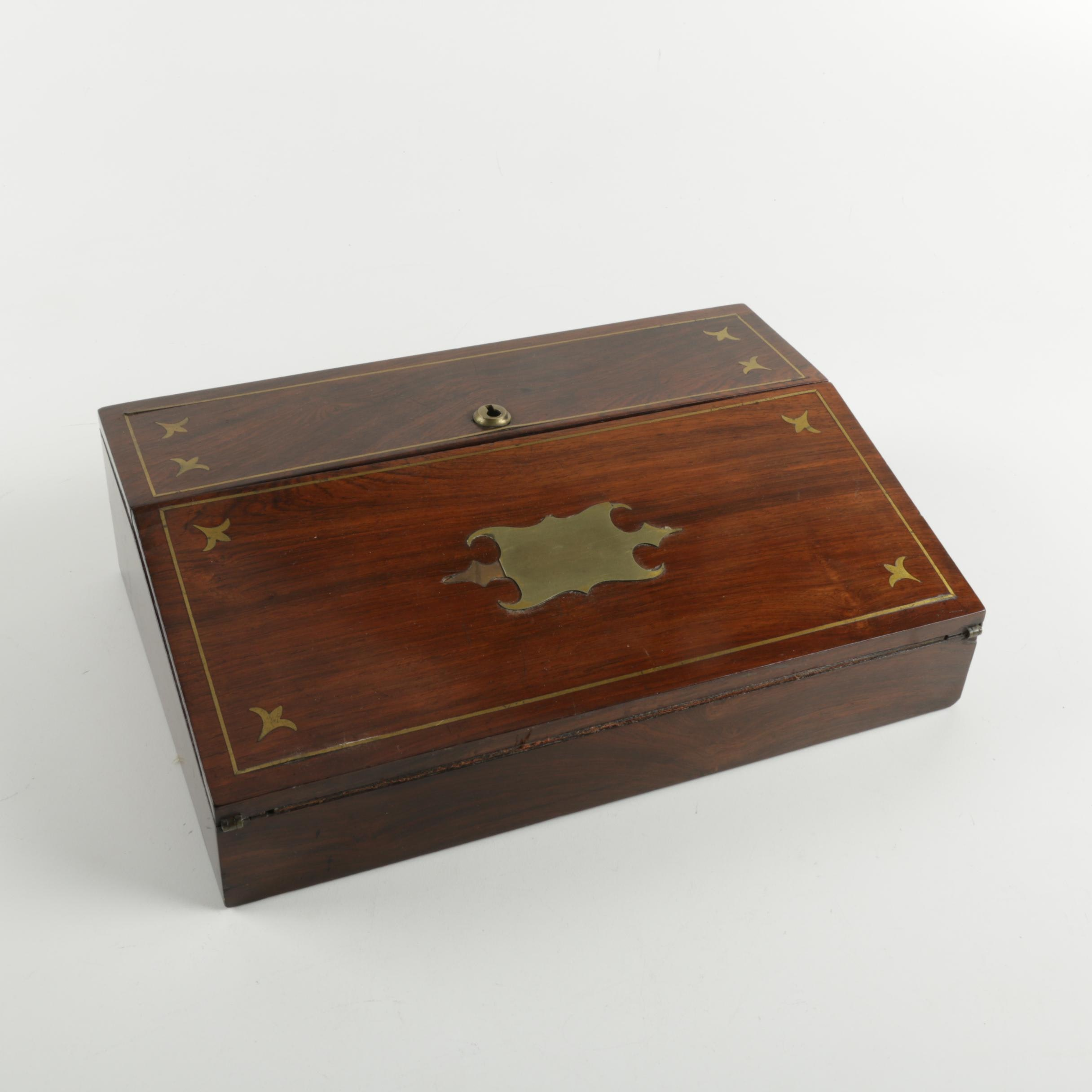 Brass Inlay Writing Case and Inkwell
