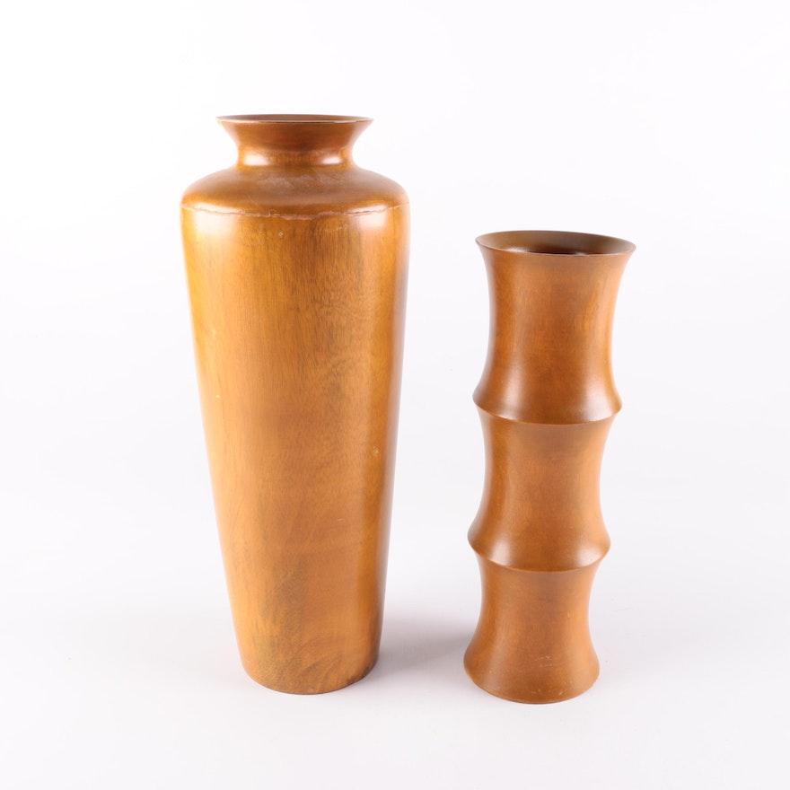 Pair Of Mango Wood Vases Ebth