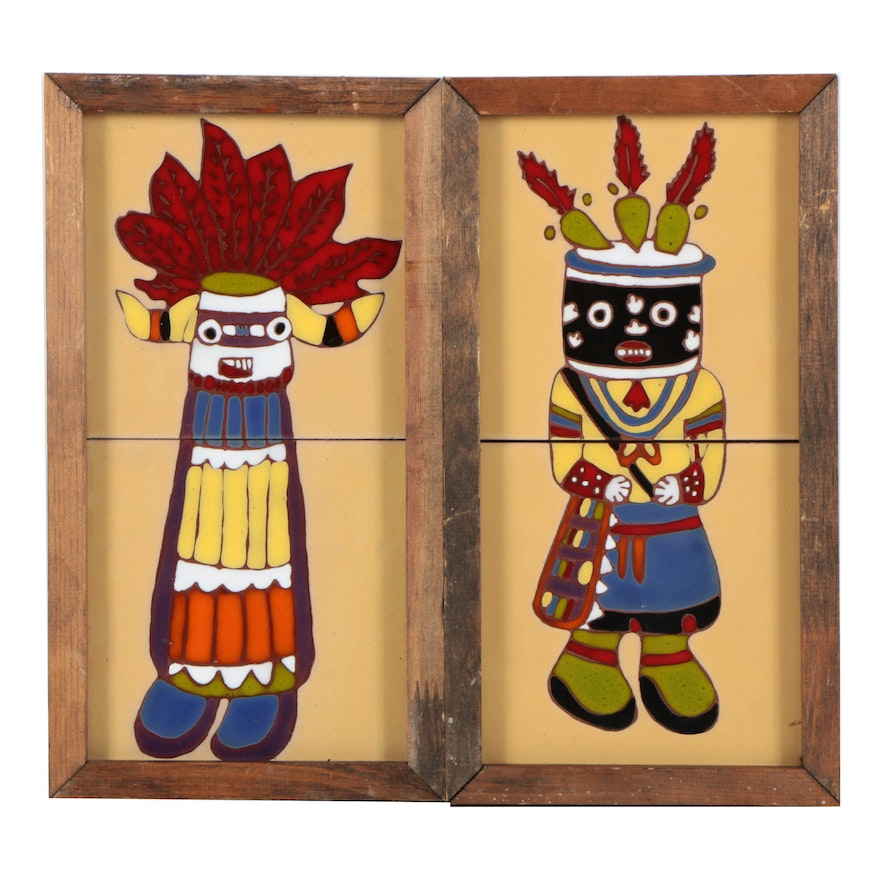 Ceramic Tile Art In The Style Of Hopi Kachina Dolls Ebth
